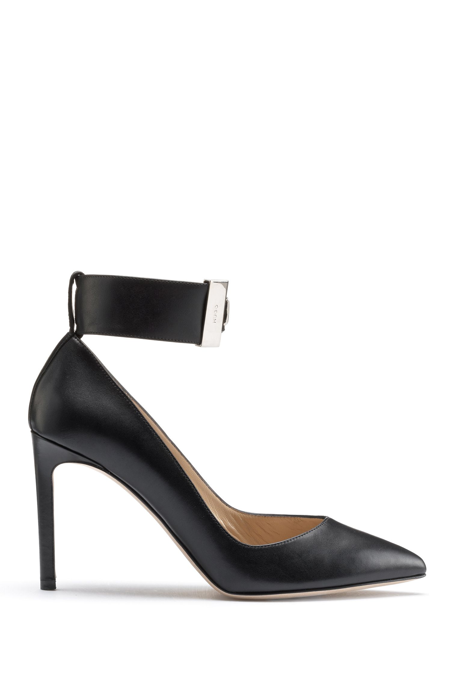 Calf leather pumps with studded ankle strap, Black