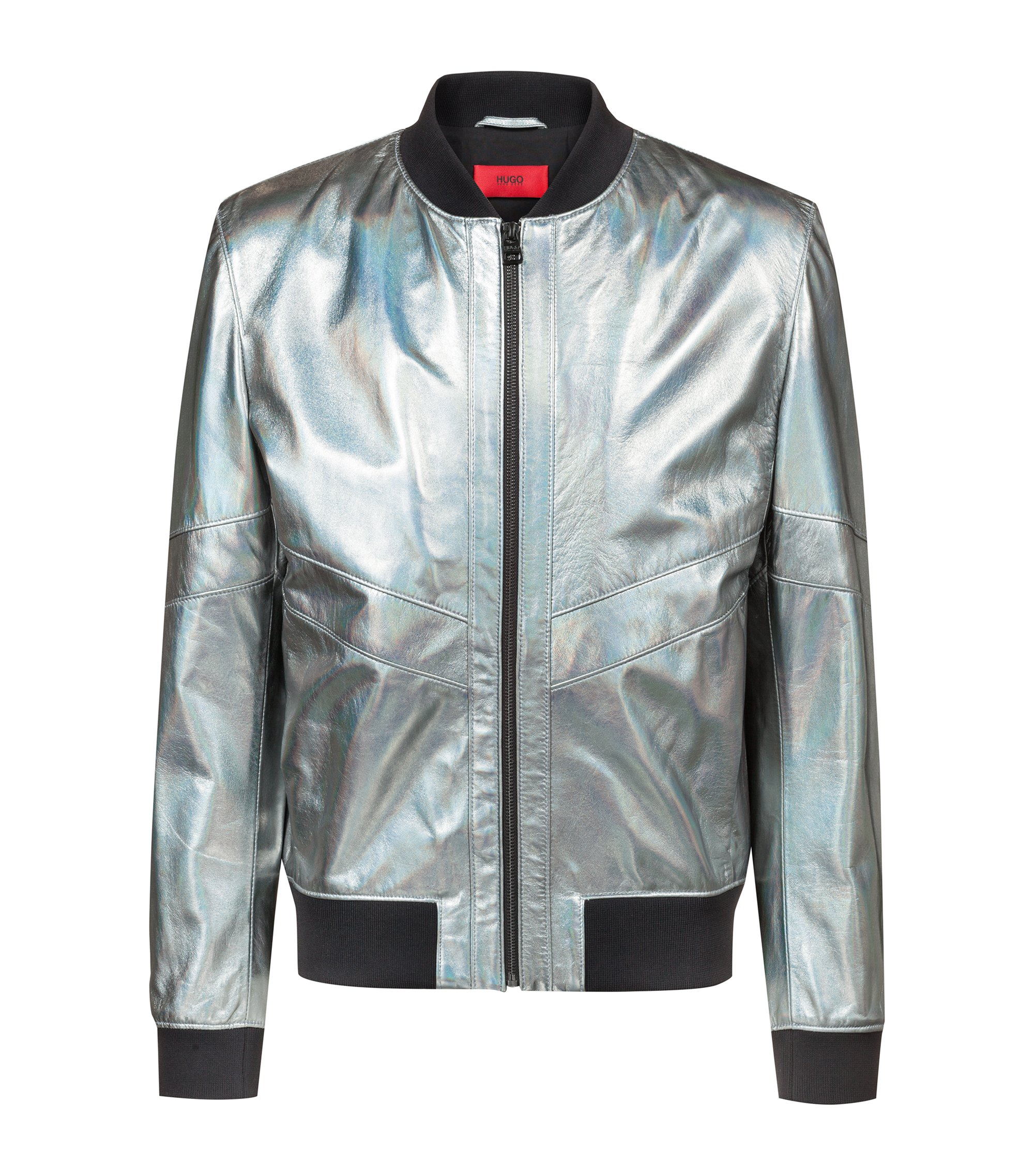 Regular-fit bomber jacket in metallic lambskin, Silver