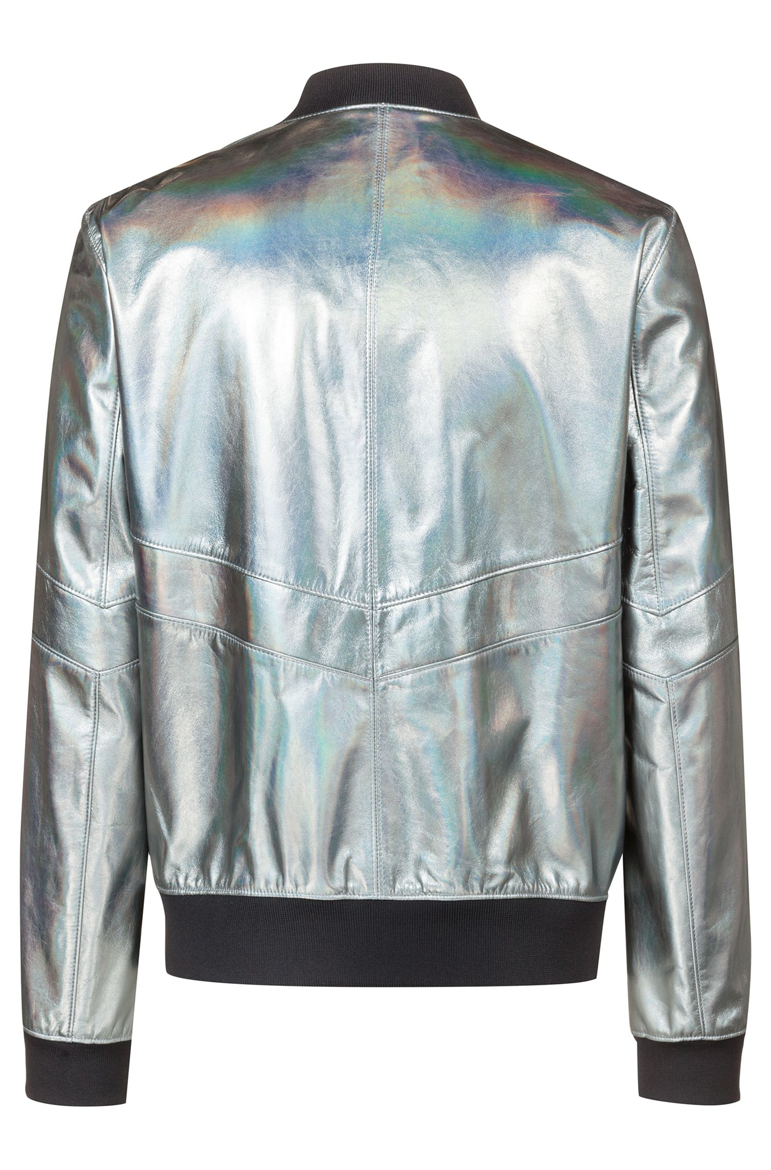 Regular-Fit Bomberjacke aus Metallic-Leder, Silber