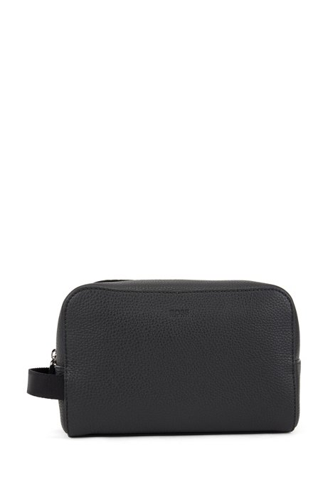 Zipped washbag in embossed Italian leather with lateral handle, Black