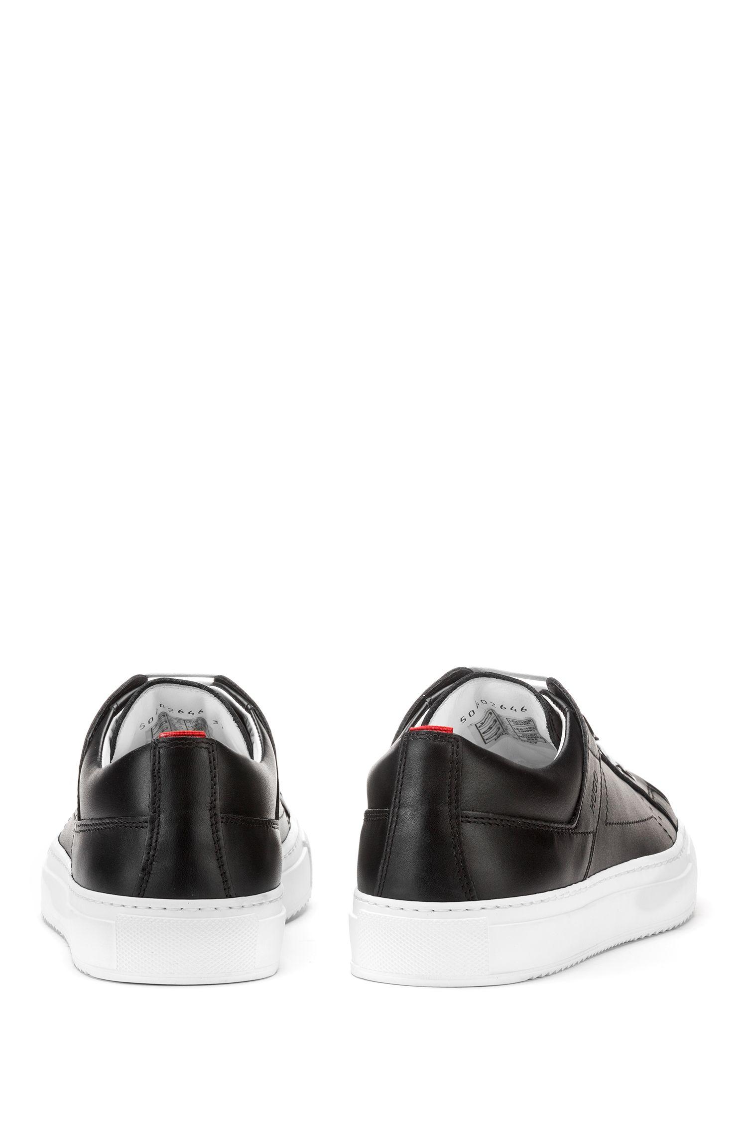 Lage vetersneakers van bewerkt leer, Zwart