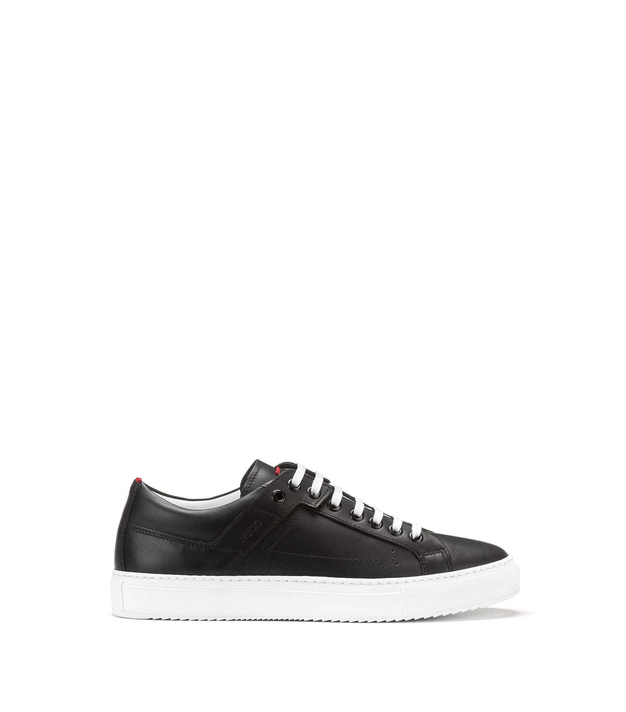 Low-top lace-up trainers in tumbled leather, Black