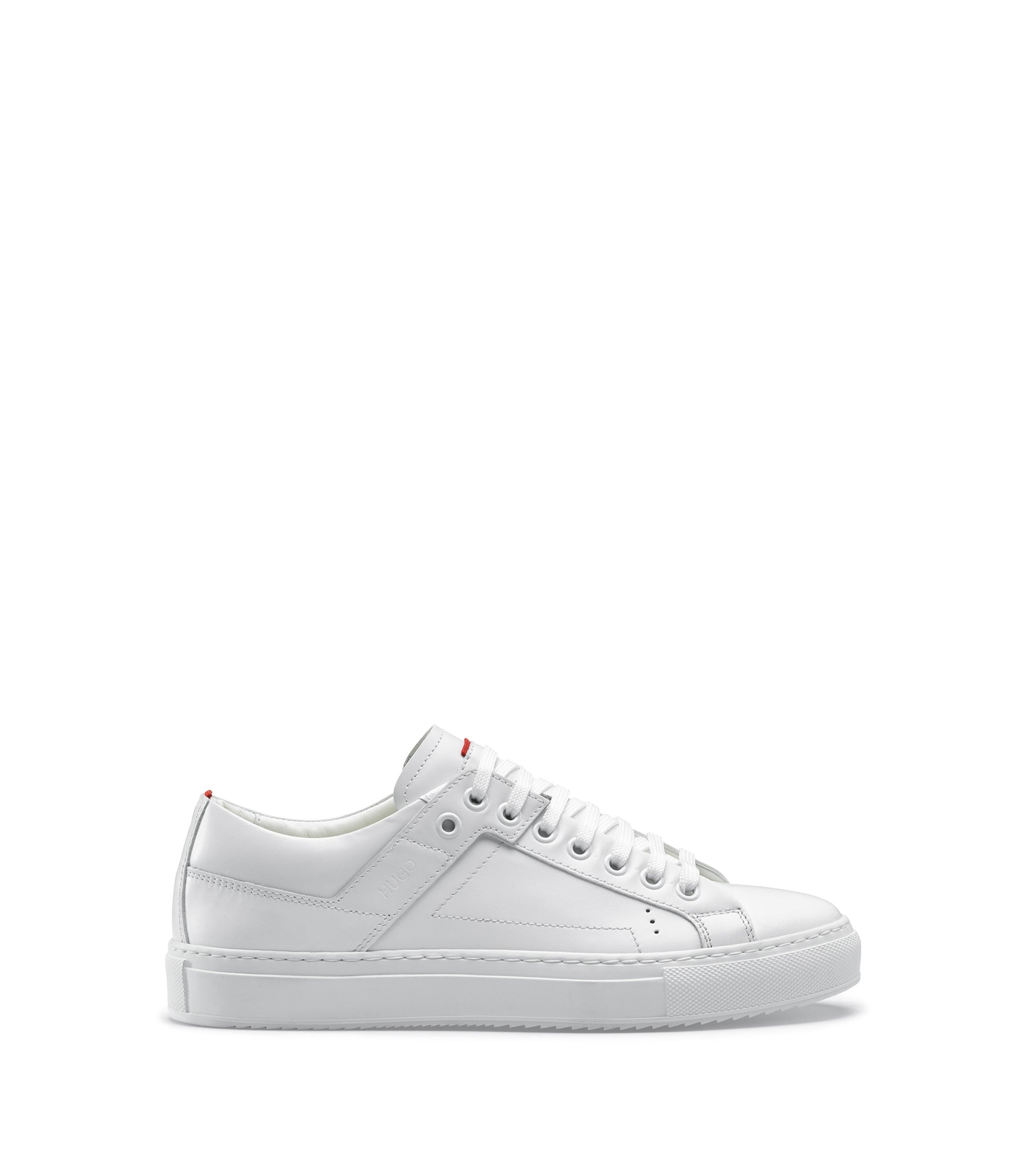 Low-top lace-up trainers in tumbled leather, White