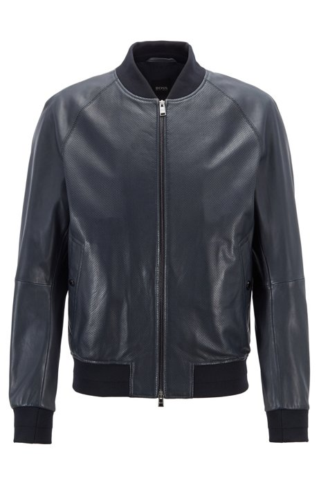 97a09559a937 BOSS - Bomber-style jacket in nappa leather with perforated details