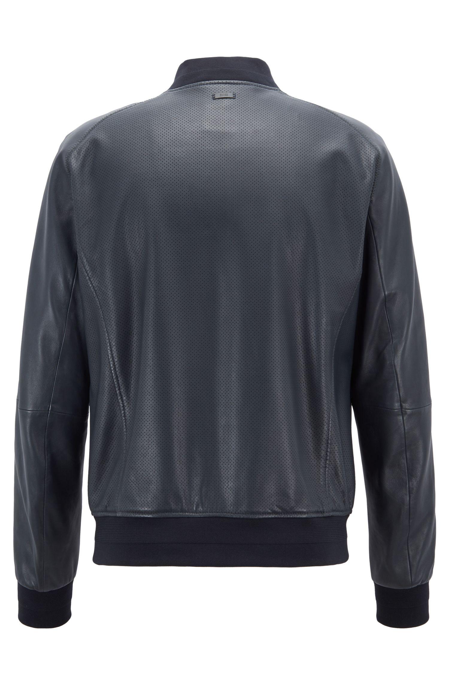 Cazadora de estilo bomber en piel de napa con detalles perforados, Azul oscuro