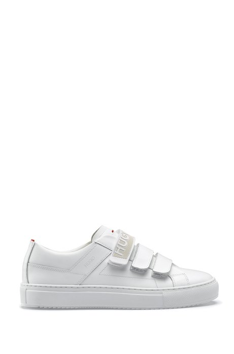ec02aaea3fe Low-top leather trainers with triple riptape straps, White