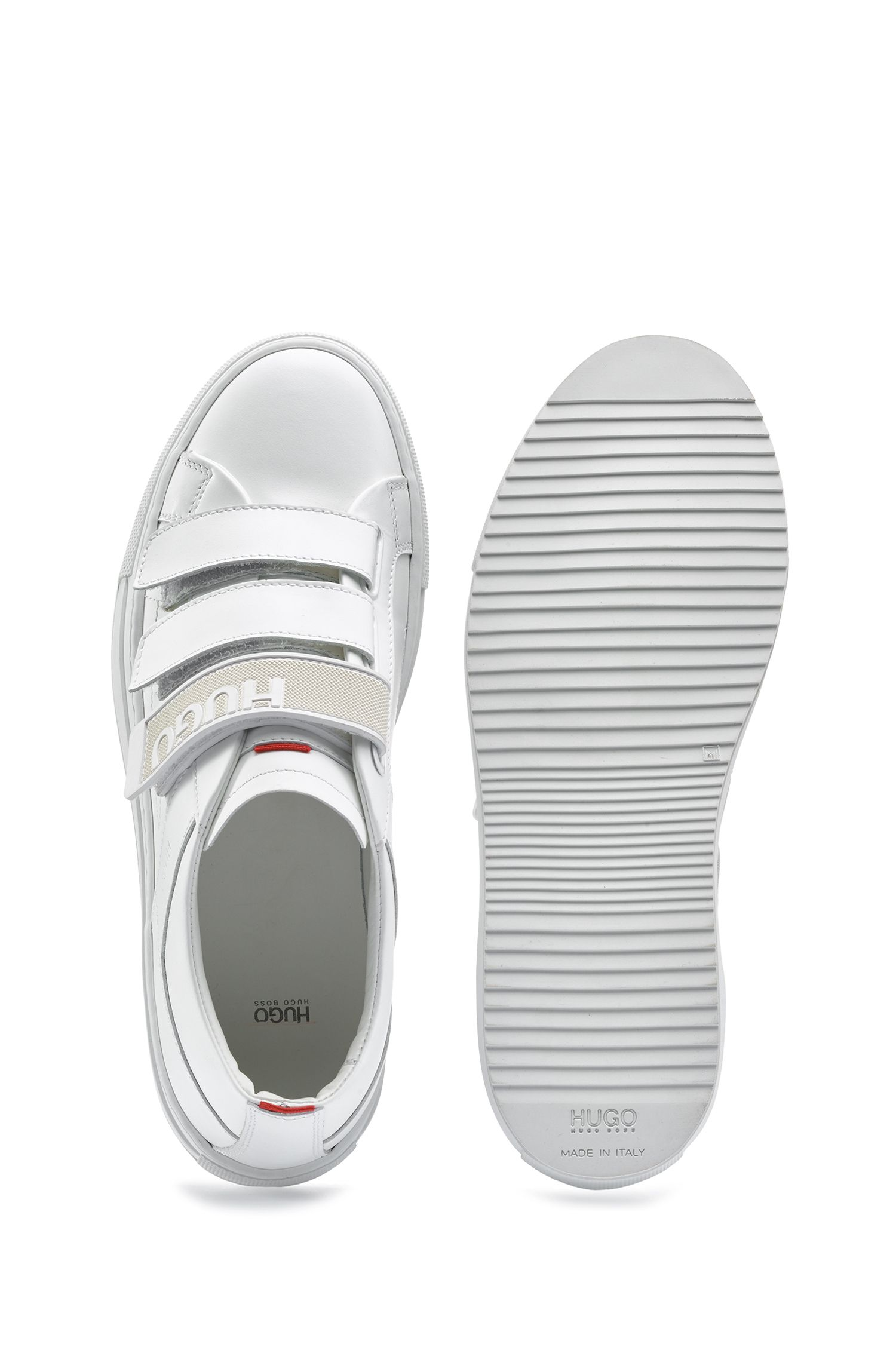 Low-top leather trainers with triple riptape straps, White