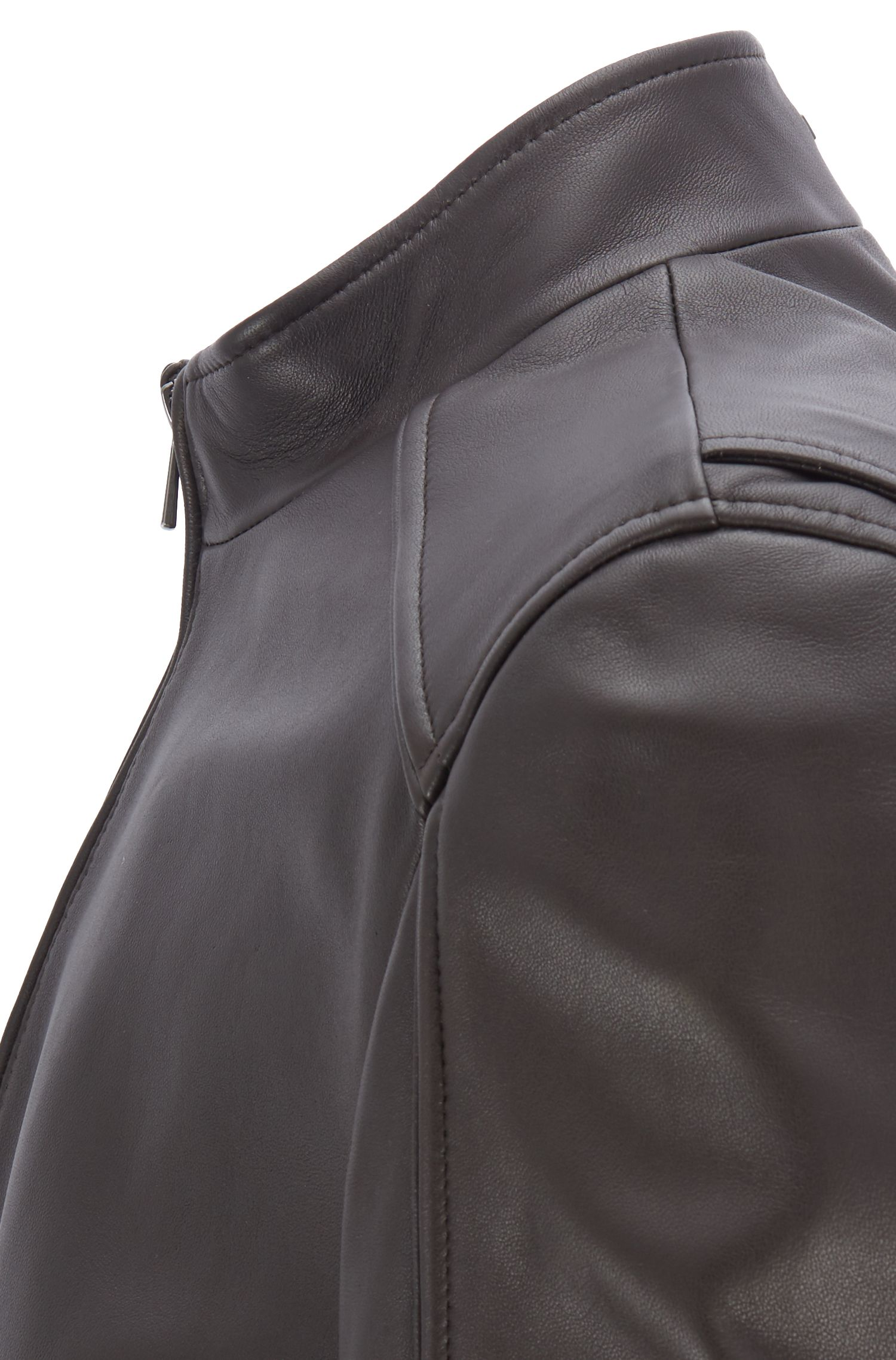 Blouson leather jacket with piped seams, Dark Brown