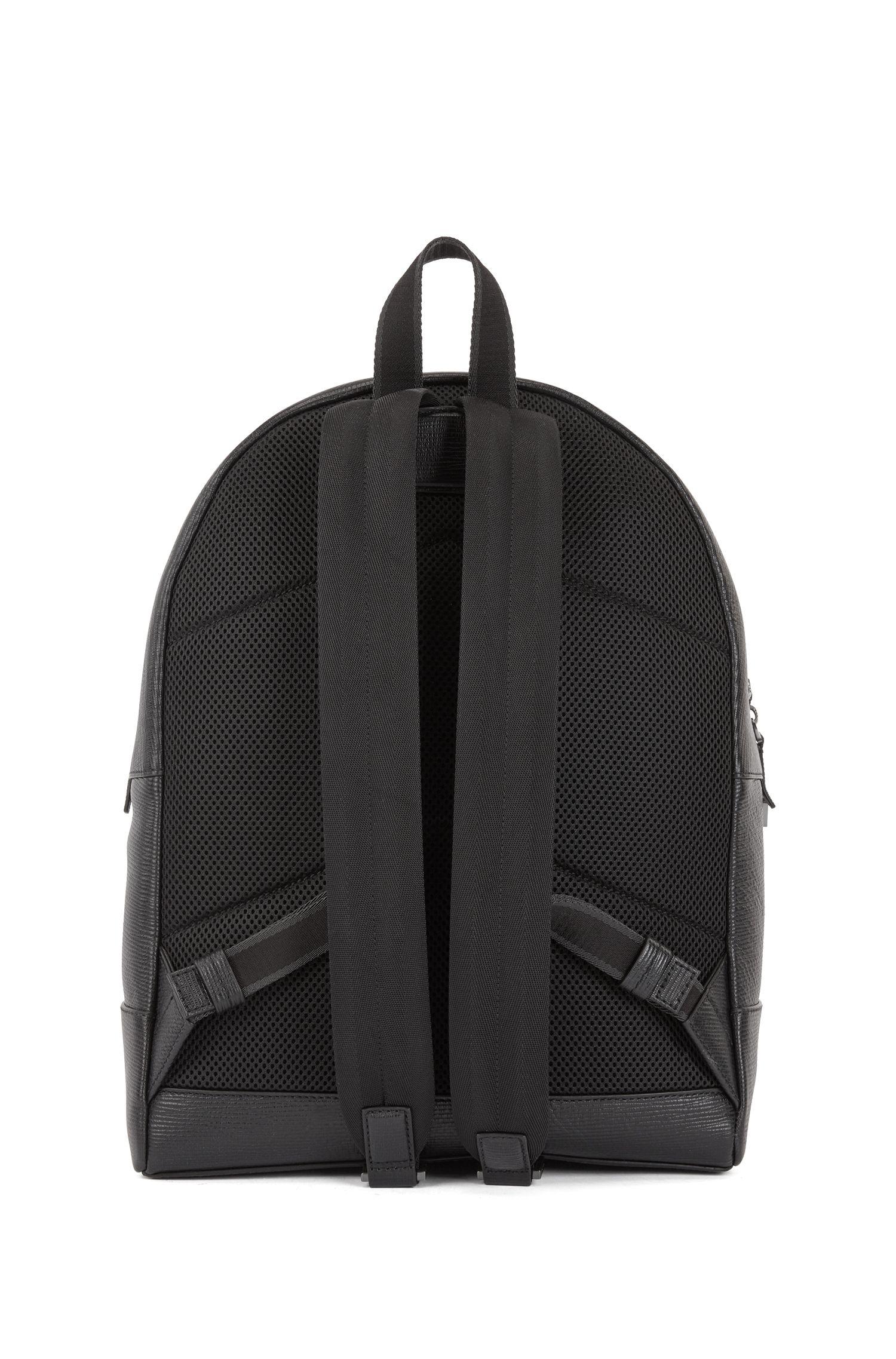 Rucksack aus geprägtem italienischem Leder mit Reißverschluss, Schwarz
