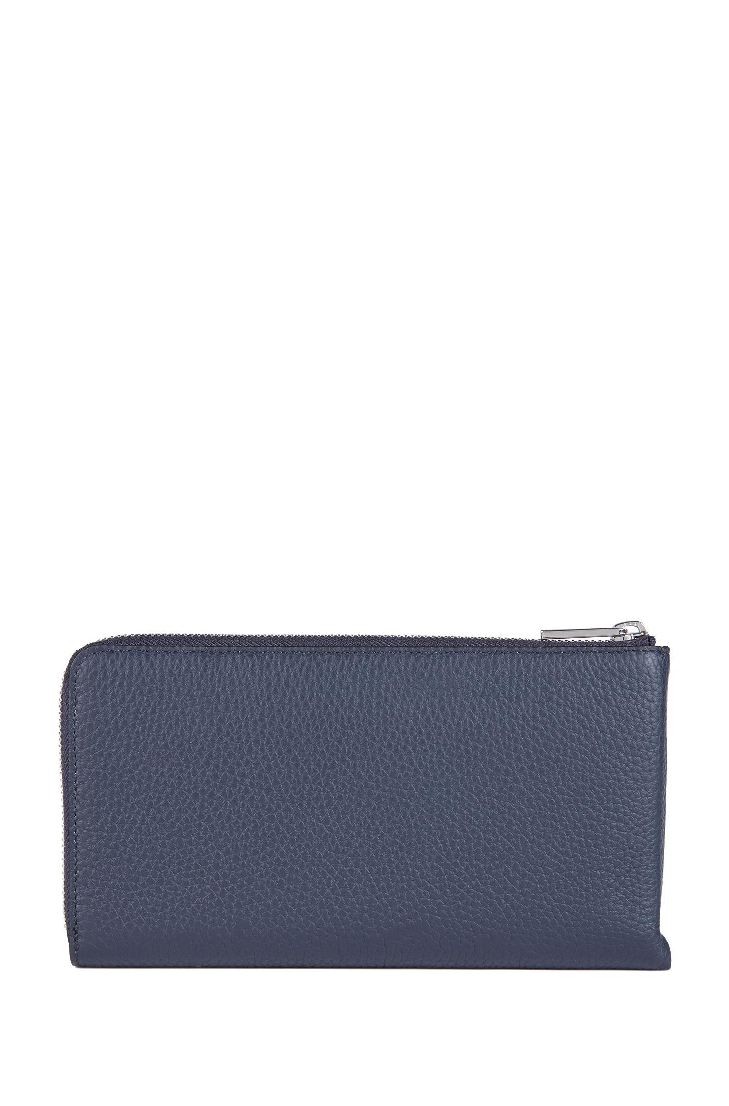 Zip-around travel wallet in embossed Italian leather, Dark Blue
