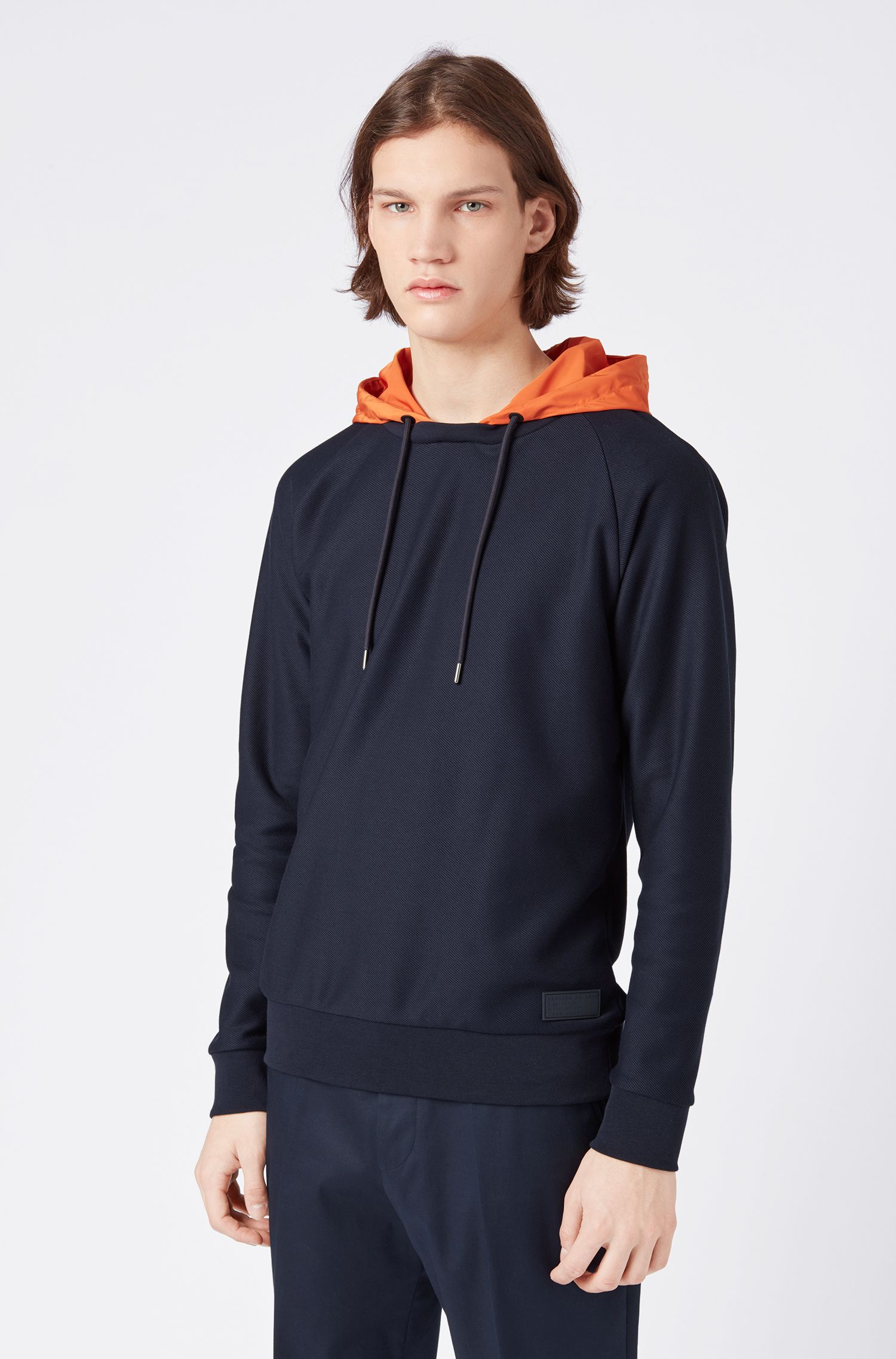 Hybrid-Sweatshirt mit abnehmbarer Kapuze in Kontrastfarbe, Dunkelblau