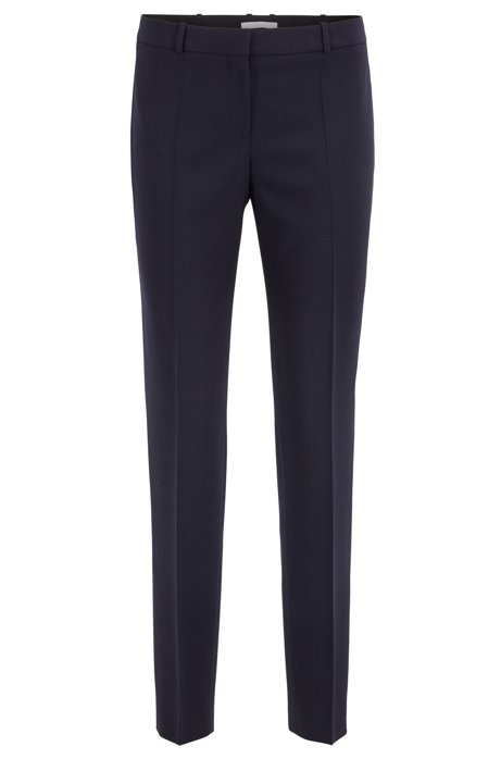 Slim-fit trousers in stretch virgin wool, Dark Blue
