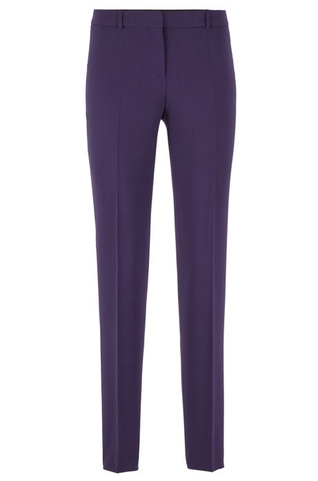 Slim-fit trousers in stretch virgin wool, Dark Purple