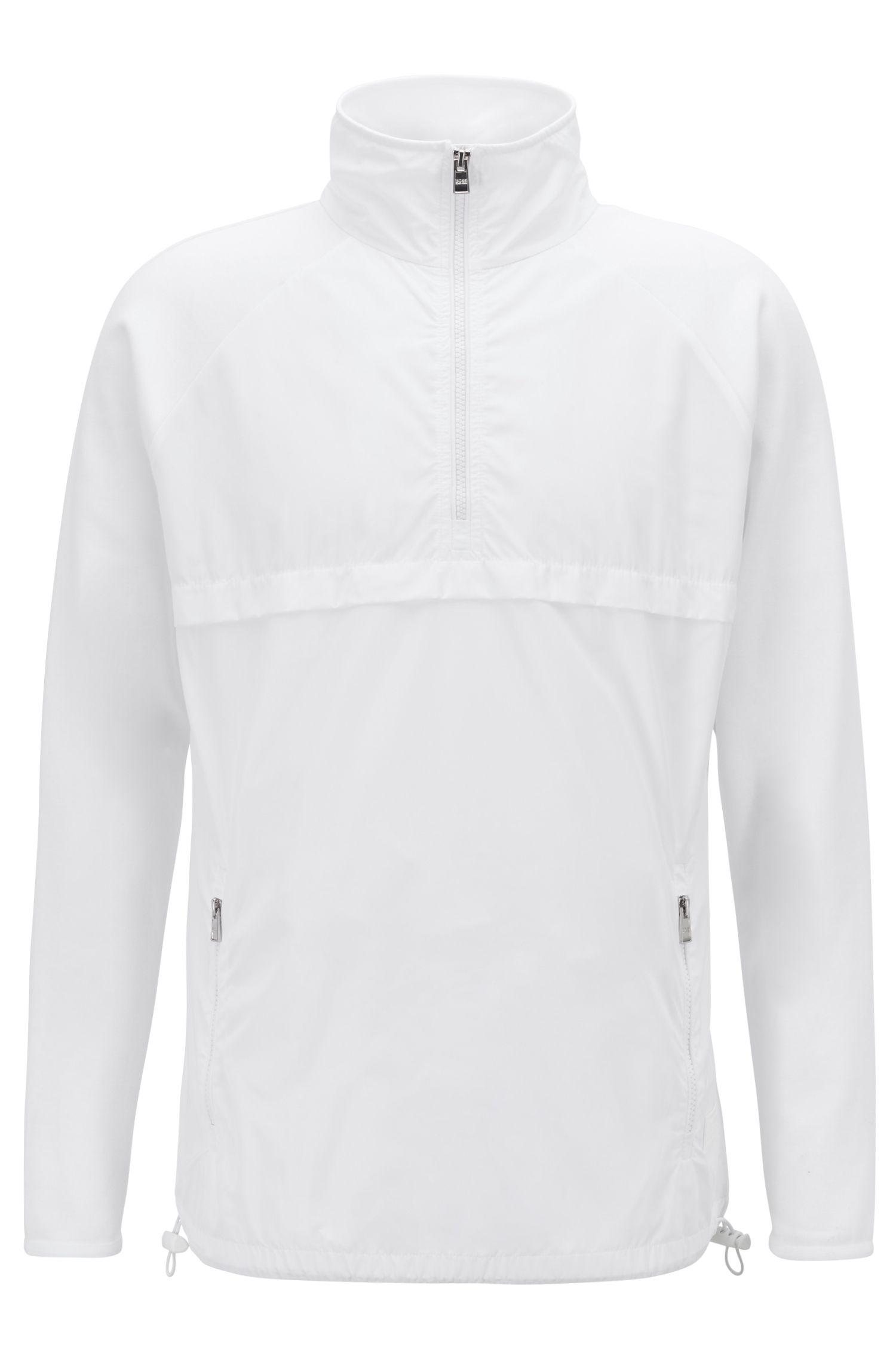 Quarter-zip windbreaker in jersey with technical-fabric panels, White