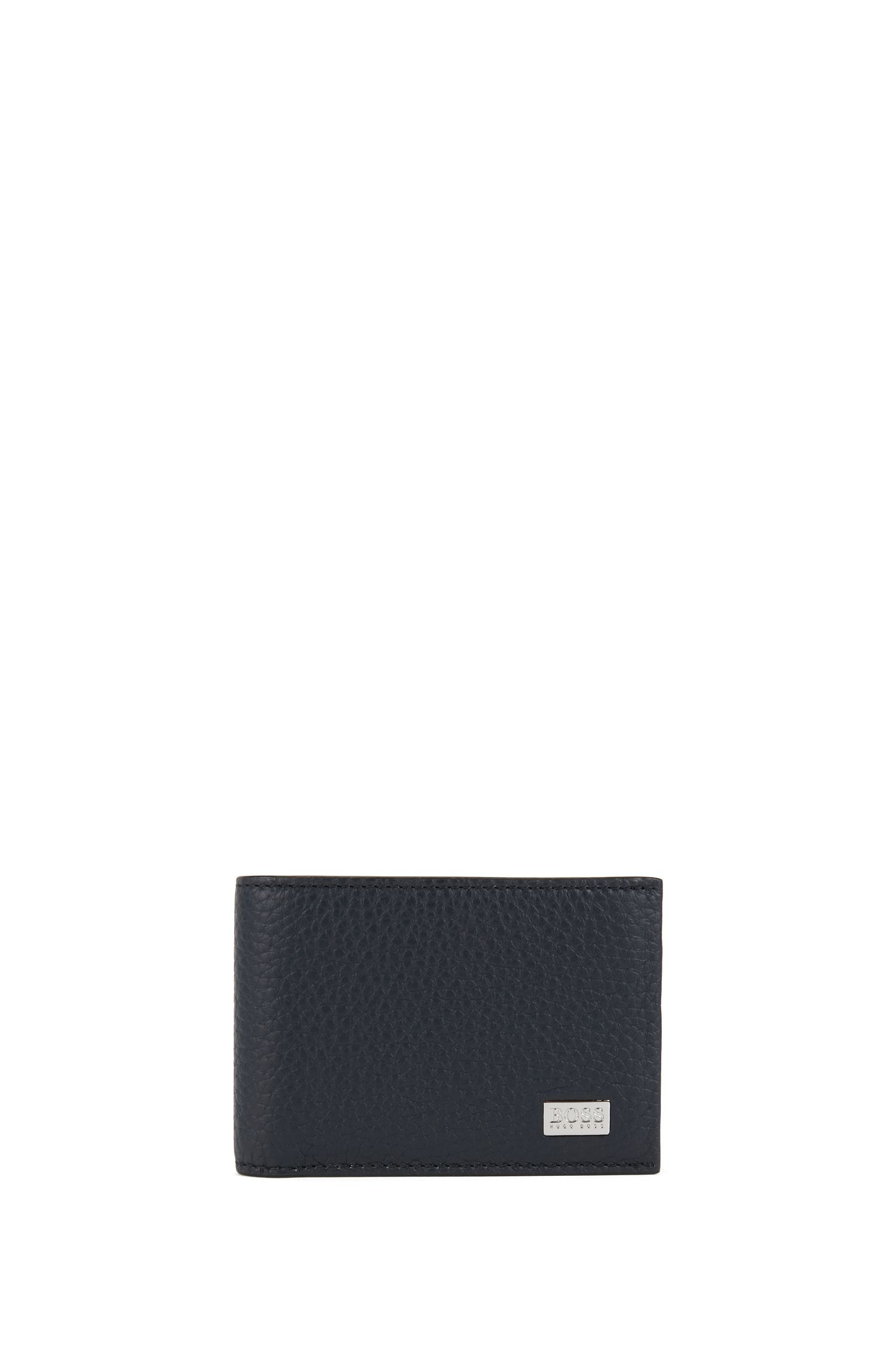 Billfold wallet in grained leather, Dark Blue