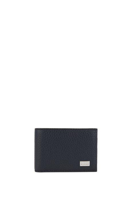 Klapp-Geldbörse aus genarbtem Leder, Dunkelblau