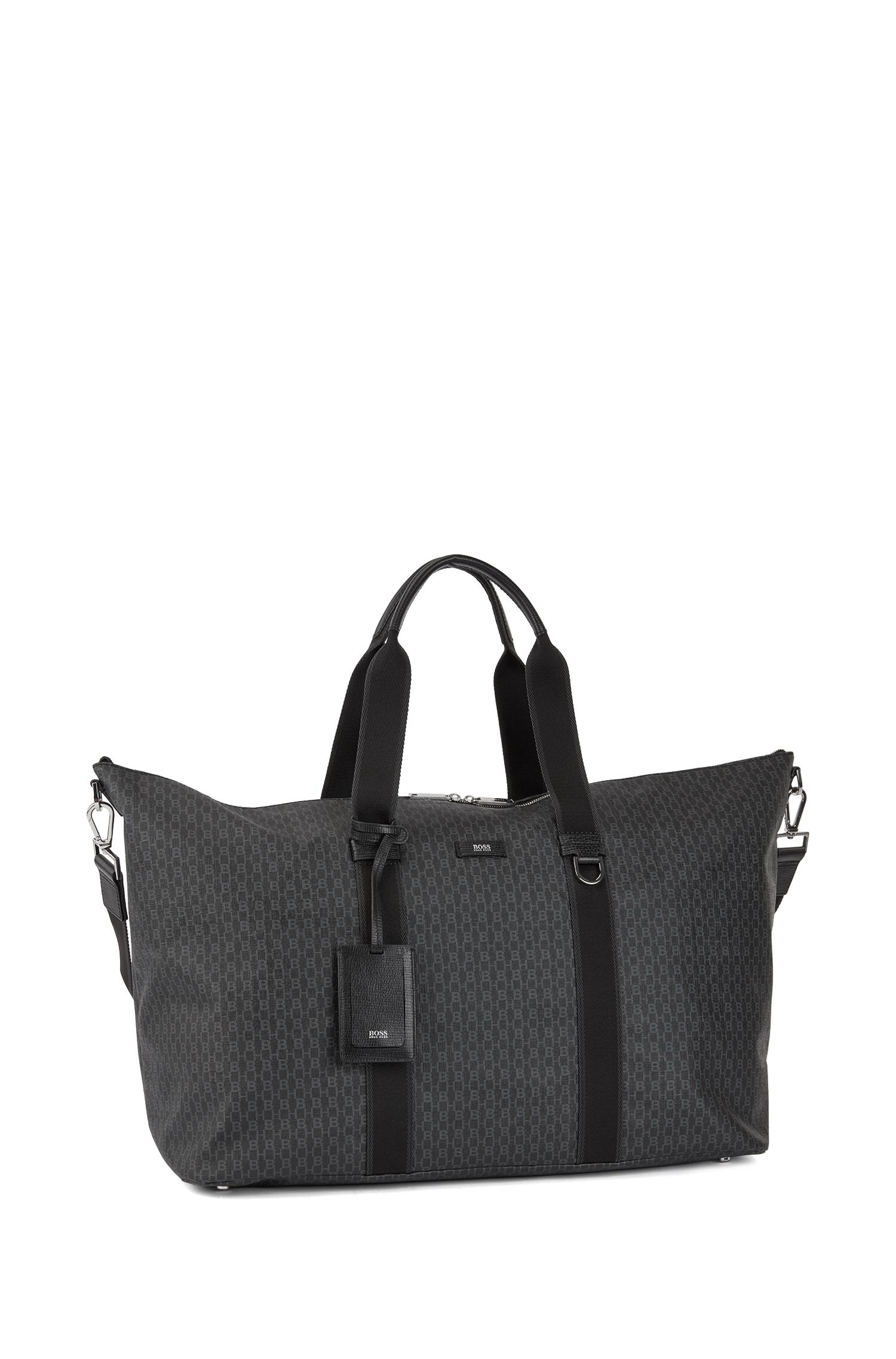 Holdall in Italian coated fabric with logo print, Black