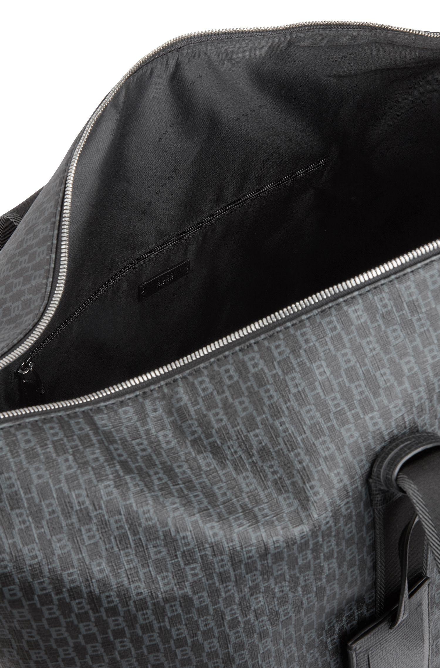 Borsone da viaggio in tessuto rivestito realizzato in Italia con logo stampato, Nero