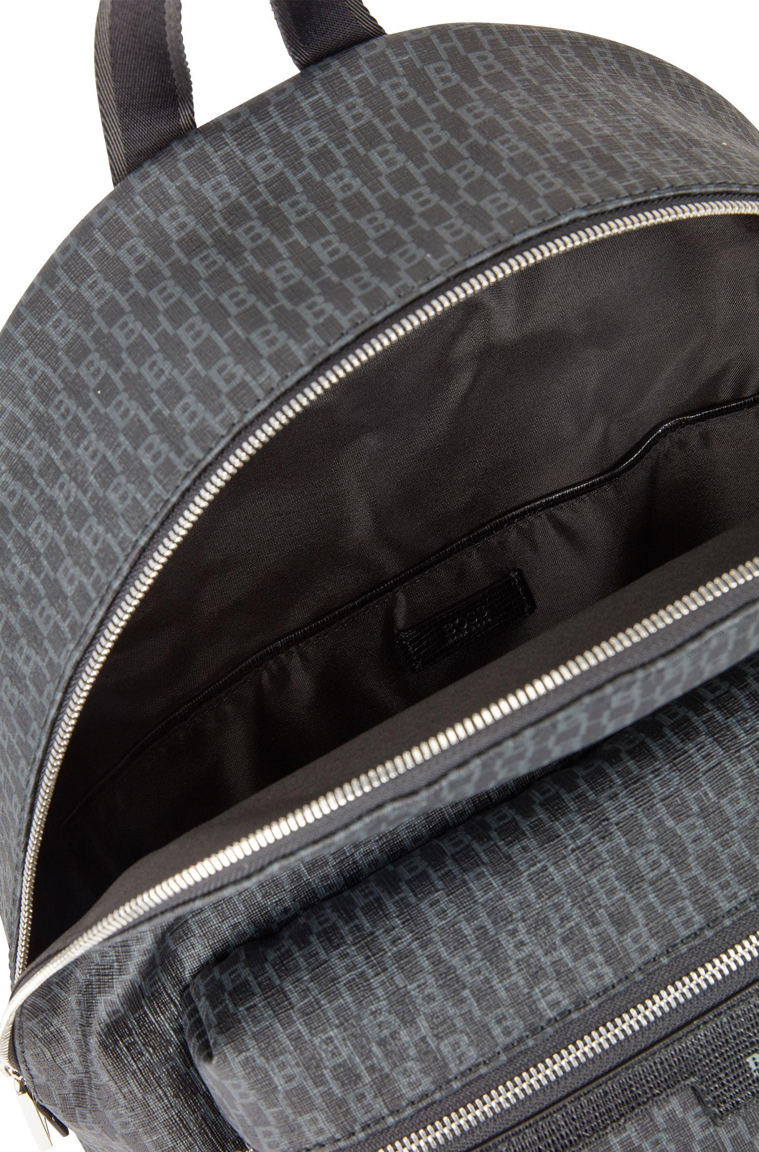 Rucksack aus beschichtetem italienischem Gewebe mit Monogramm-Print, Schwarz