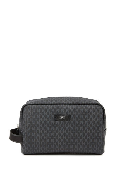 Washbag in Italian fabric with all-over logo print, Black
