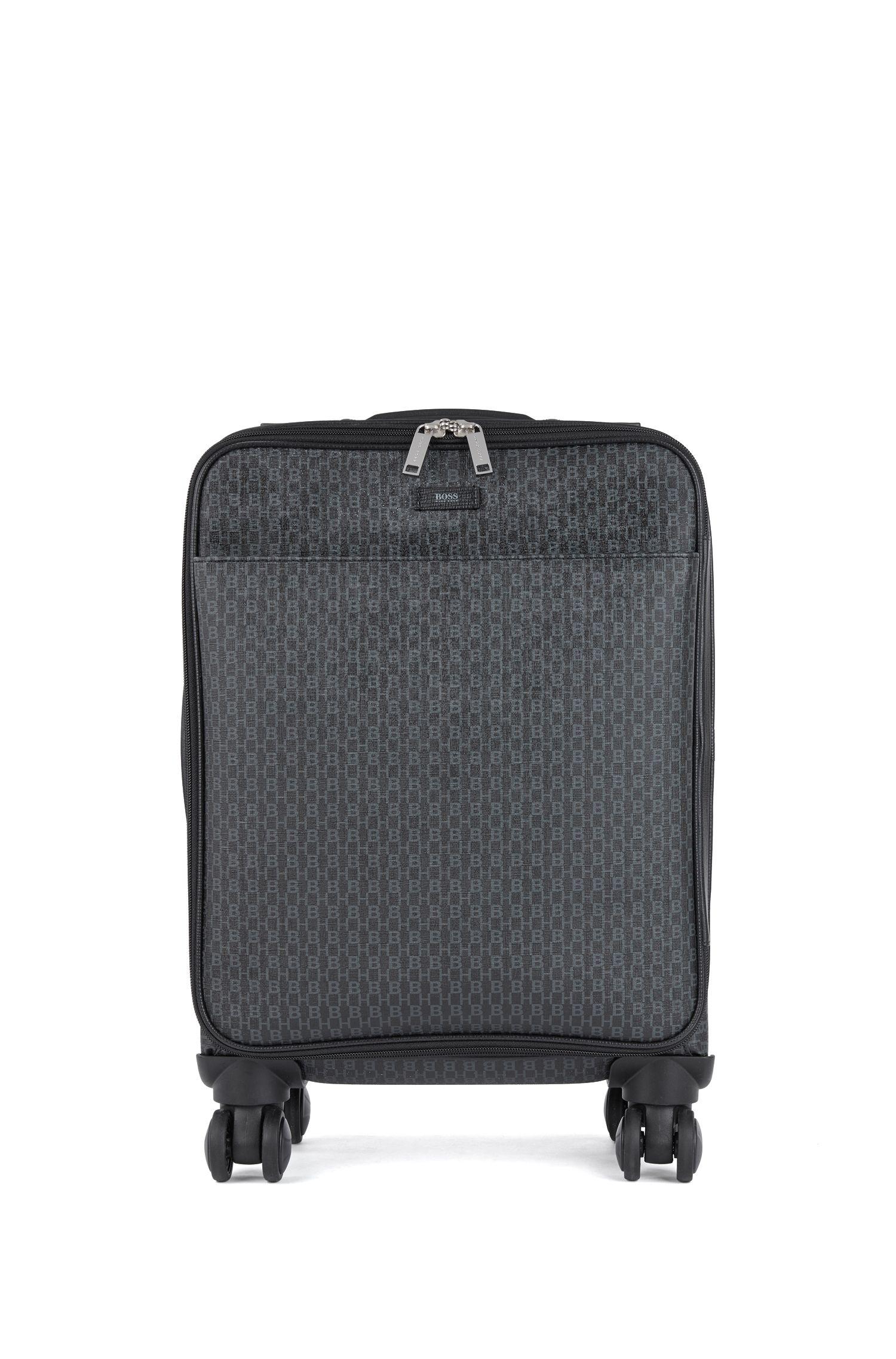 Maleta para cabina con ruedas en tejido italiano con monograma estampado, Negro