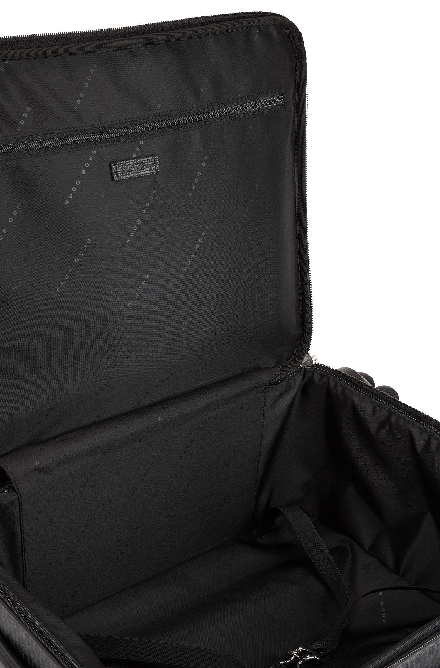 Handgepäck-Trolley aus italienischem Material-Mix mit Monogramm-Prägung, Schwarz