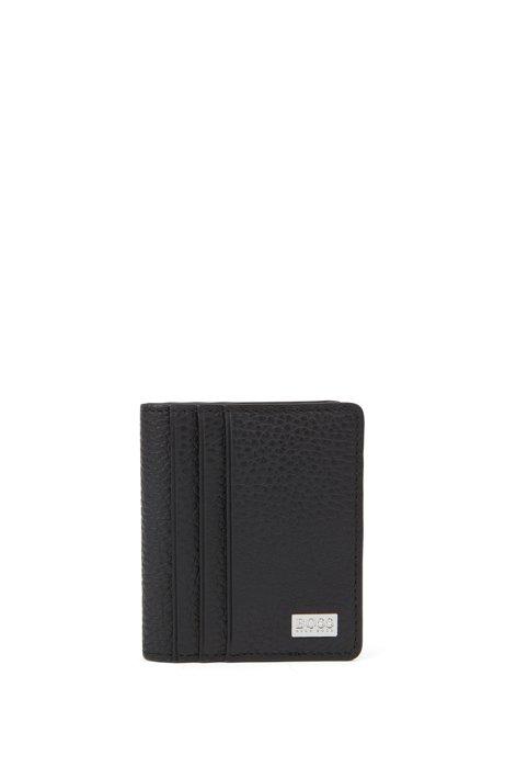 Klapp-Kartenetui aus genarbtem italienischem Leder, Schwarz