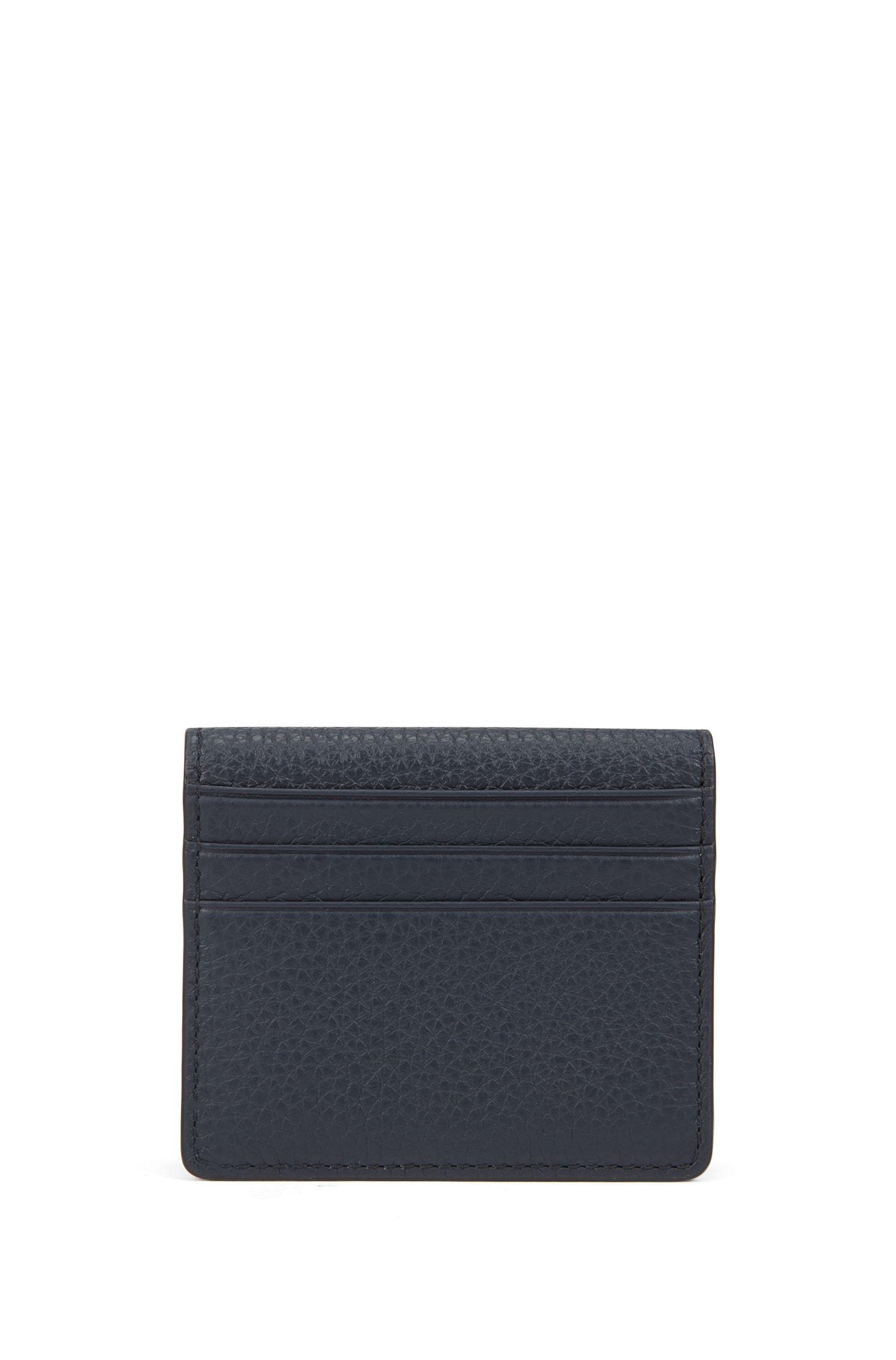 Porte-cartes pliant en cuir italien grainé, Bleu foncé