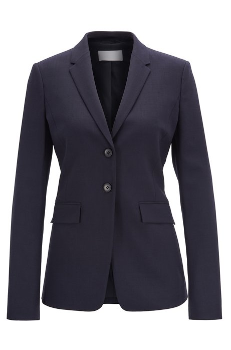 Regular-fit jacket in stretch virgin wool, Dark Blue