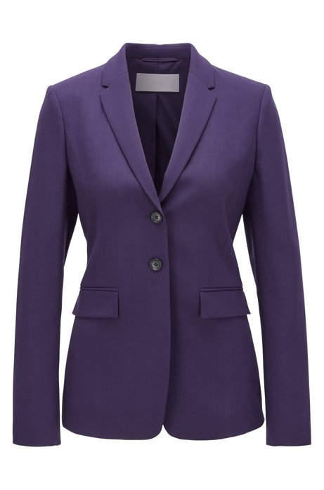 Regular-fit jacket in stretch virgin wool, Dark Purple