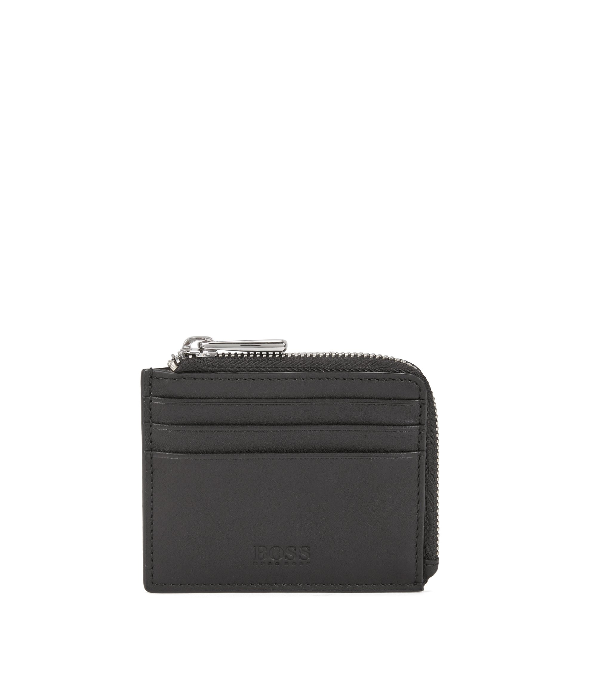 Zip-around card case in soft nappa leather, Black