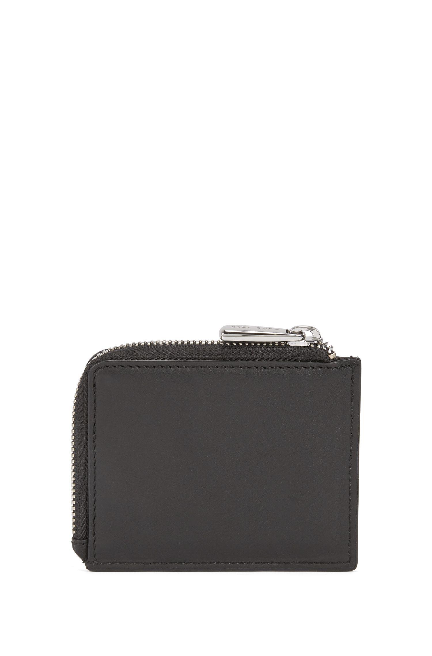 Porte-cartes en cuir nappa souple, avec fermeture éclair circulaire, Noir