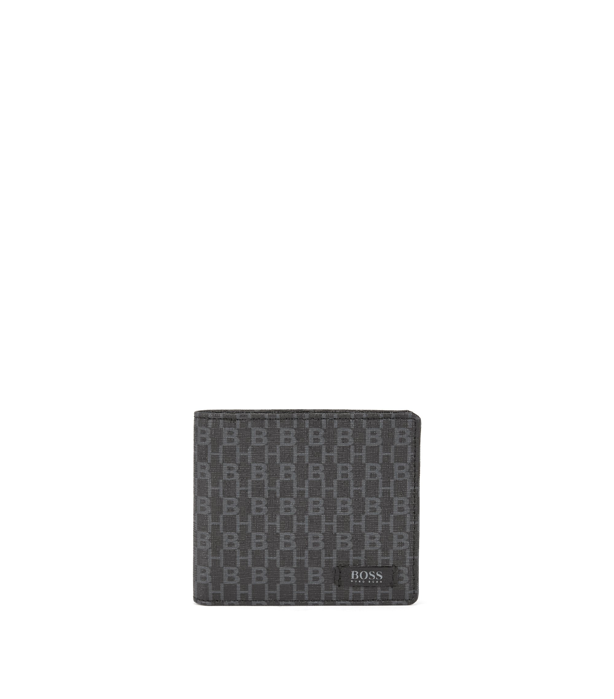 Billfold wallet in printed Italian fabric , Black