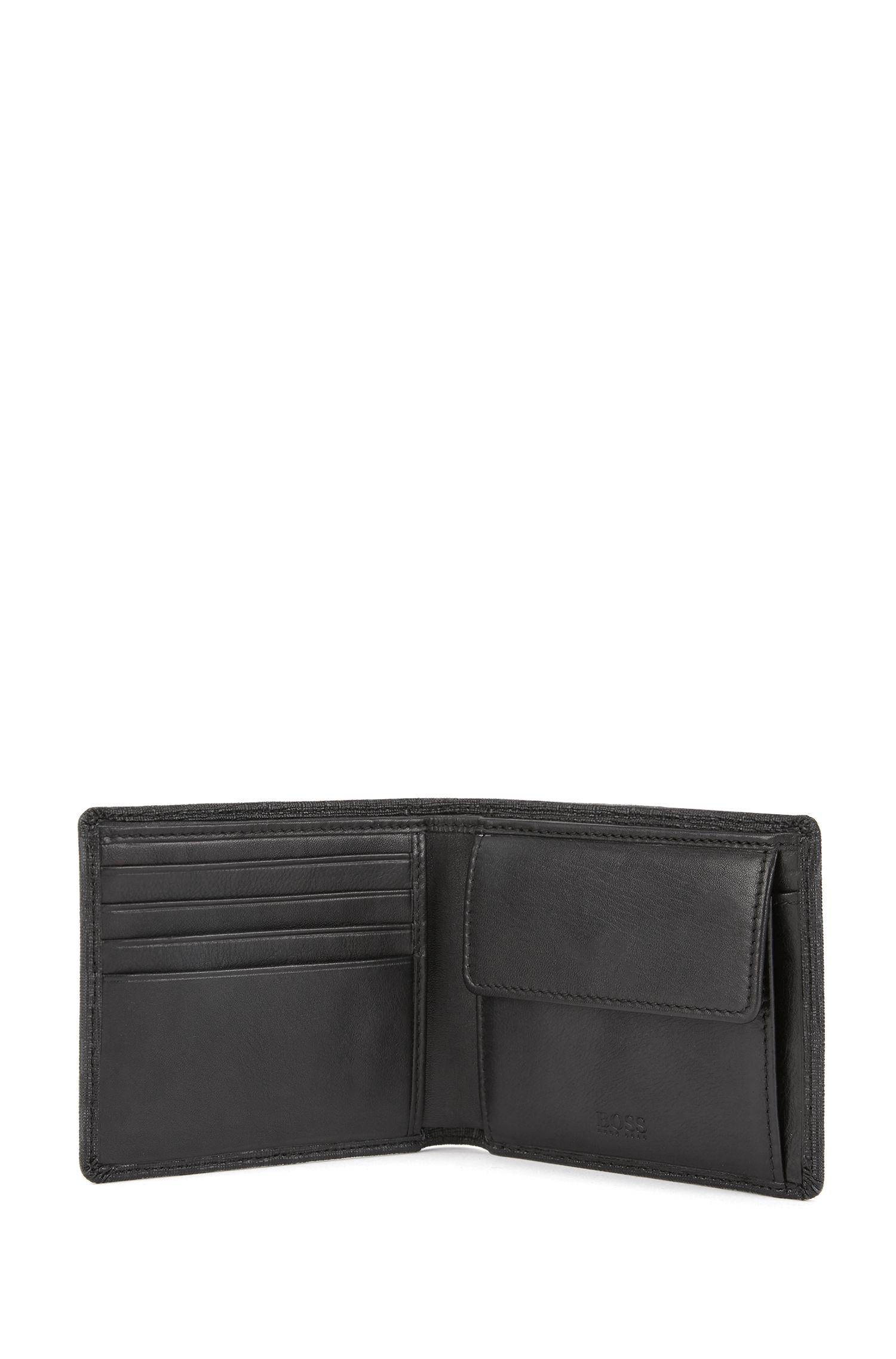 Portefeuille pliable en tissu italien imprimé , Noir
