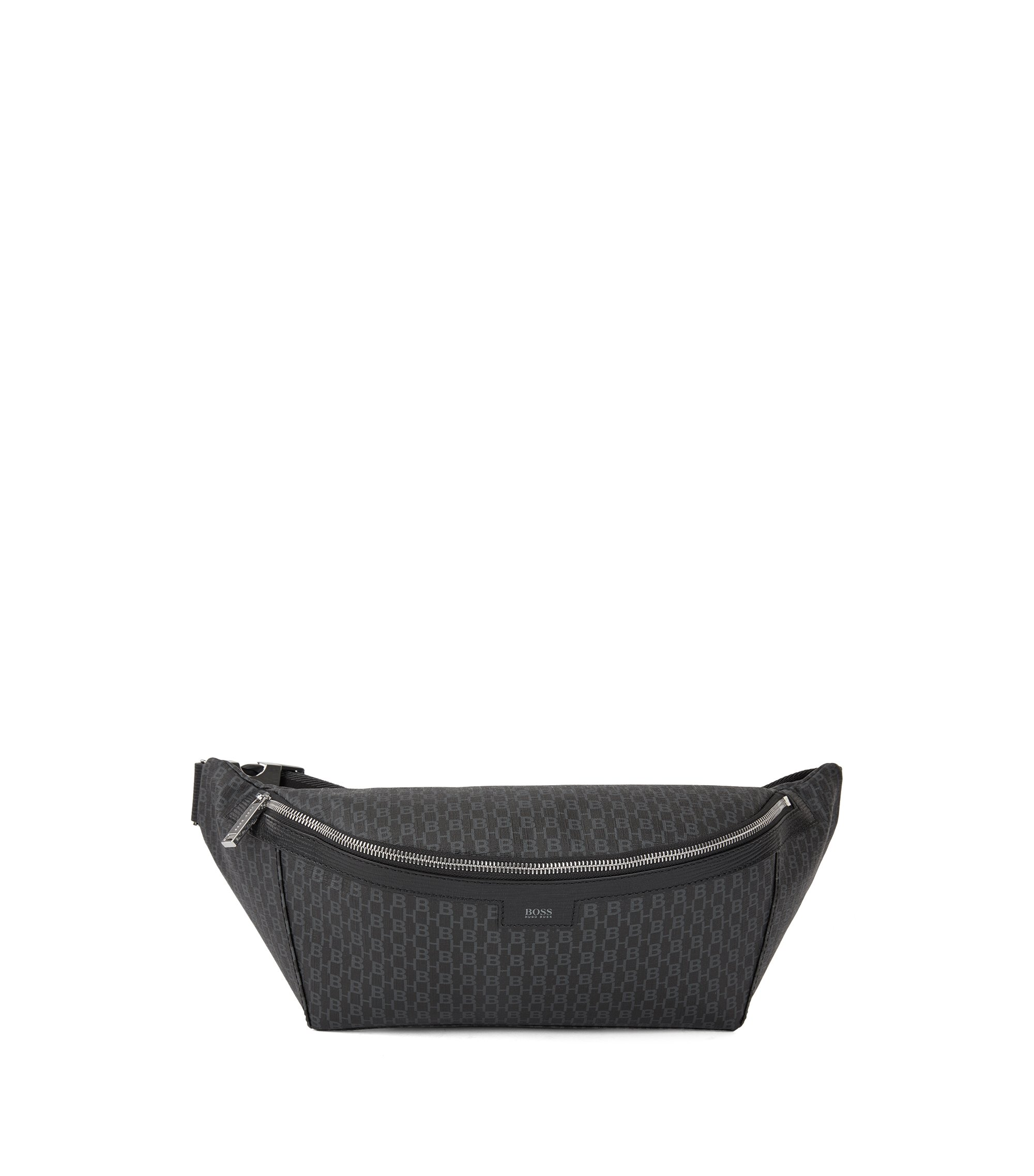 Italian-fabric belt bag with HB print, Black