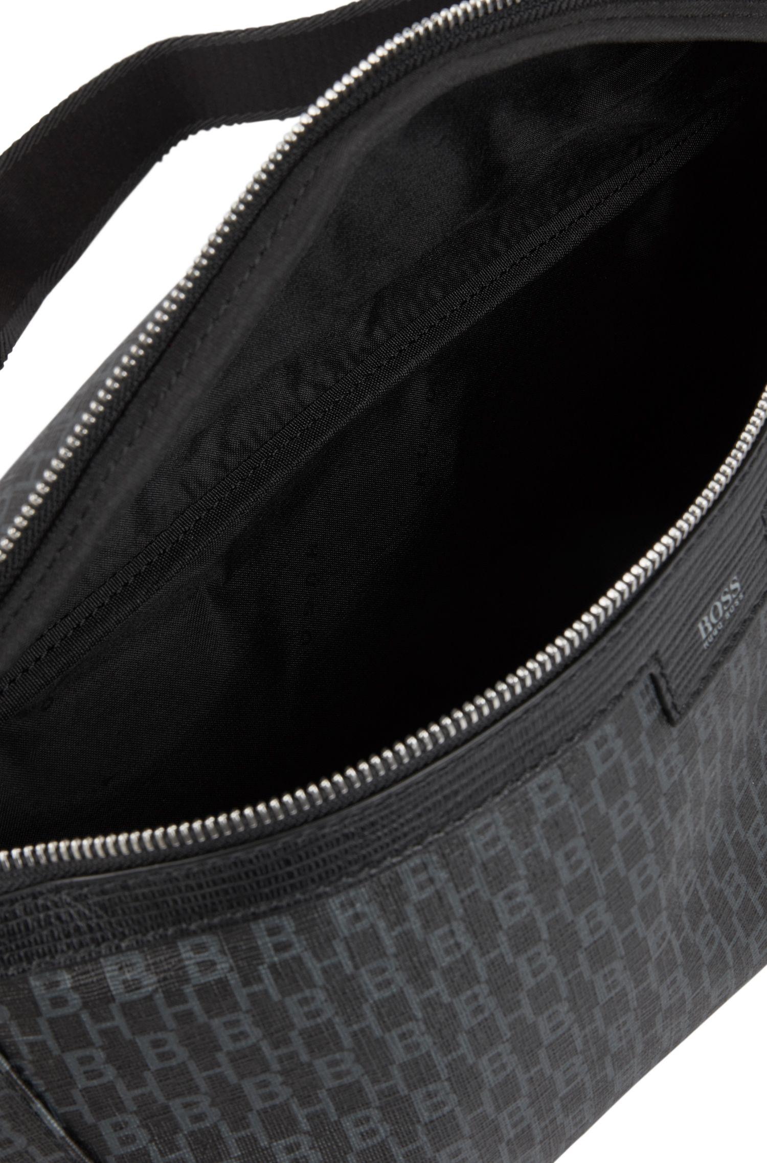 Sac ceinture en tissu italien avec imprimé HB, Noir