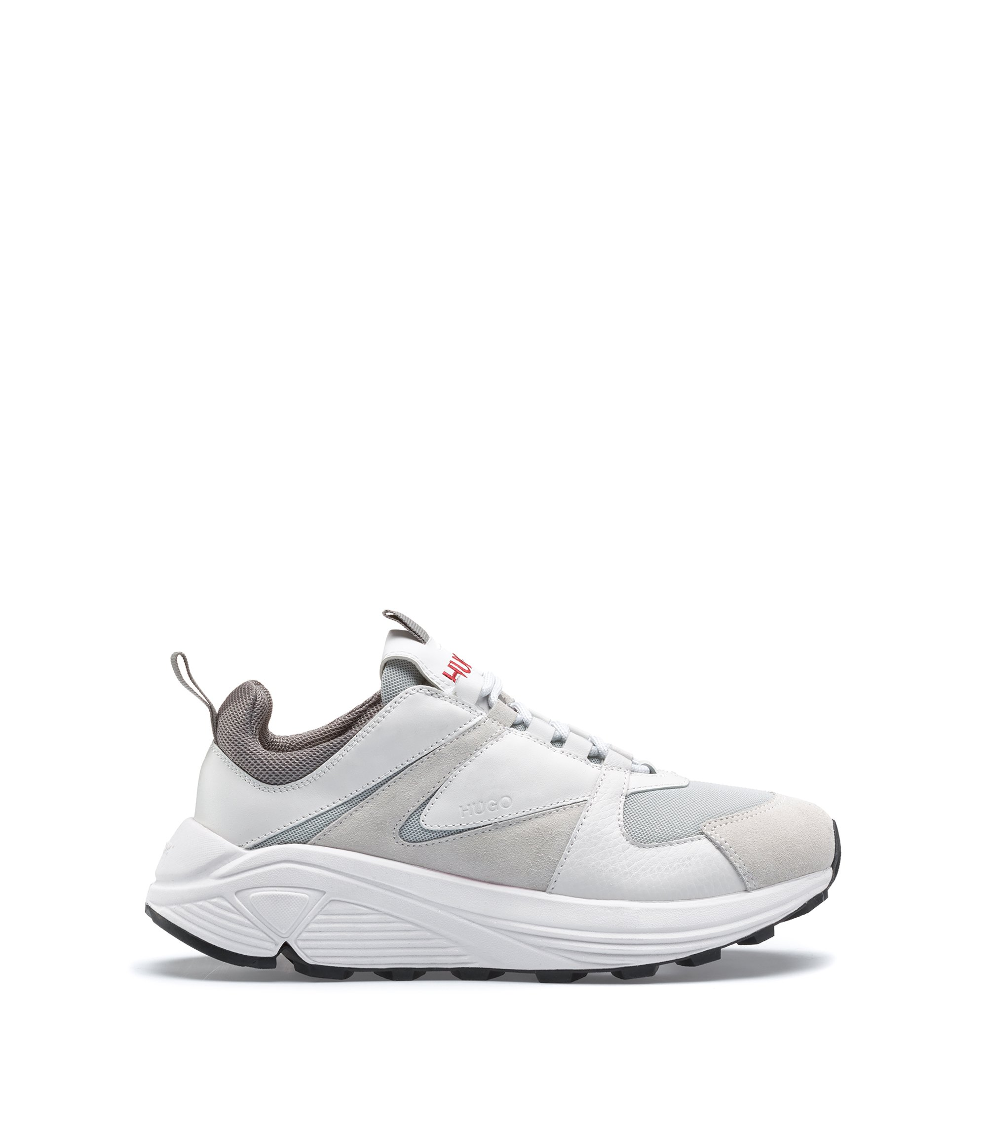 Chunky running-style trainers in mesh, suede and leather, White