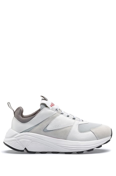 1f4a18de60 HUGO - Chunky running-style trainers in mesh, suede and leather