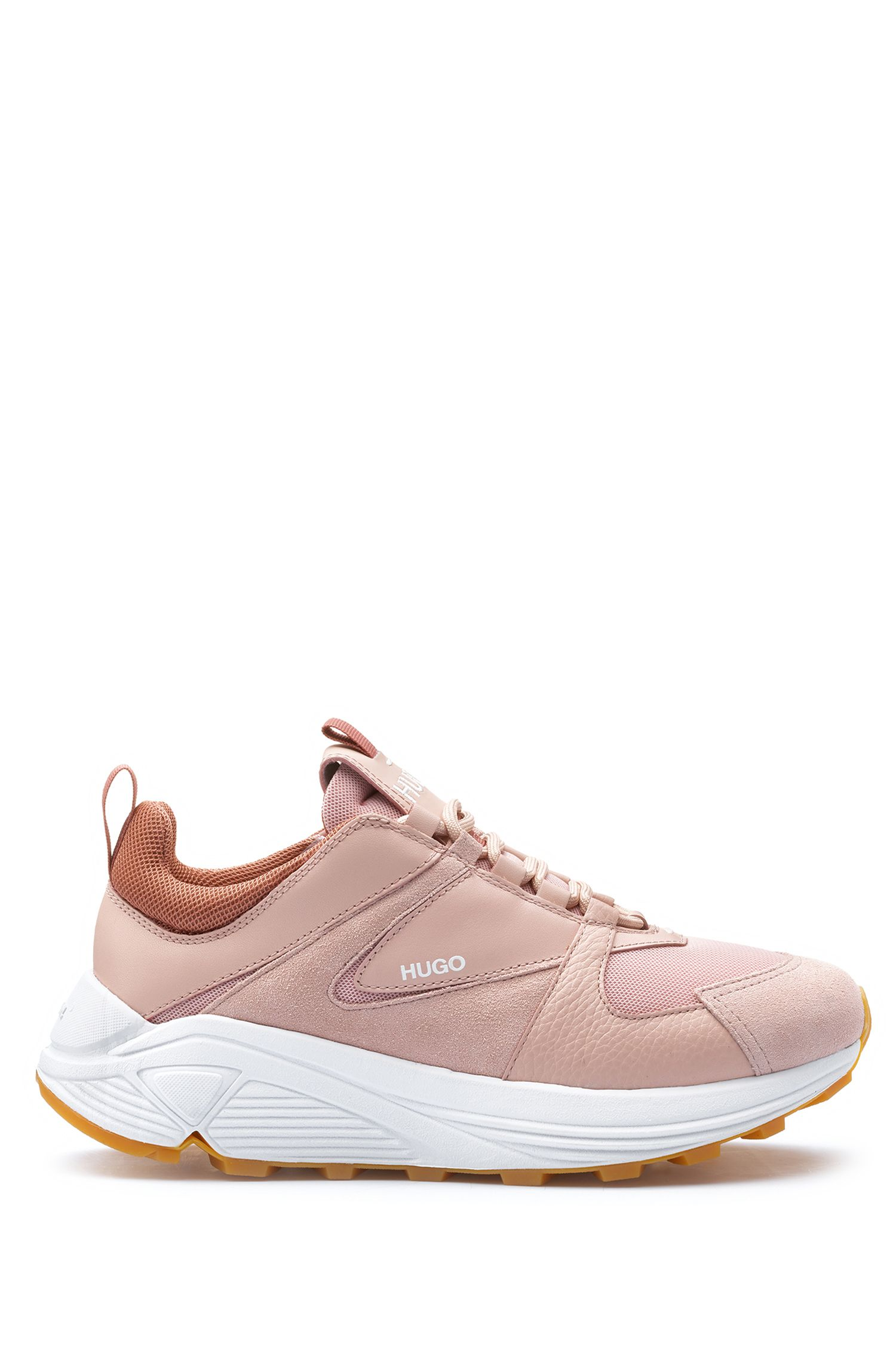 Chunky running-style trainers in mesh, suede and leather, Open Pink