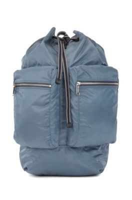 Italian-made backpack with drawstring and hook closure, Blue