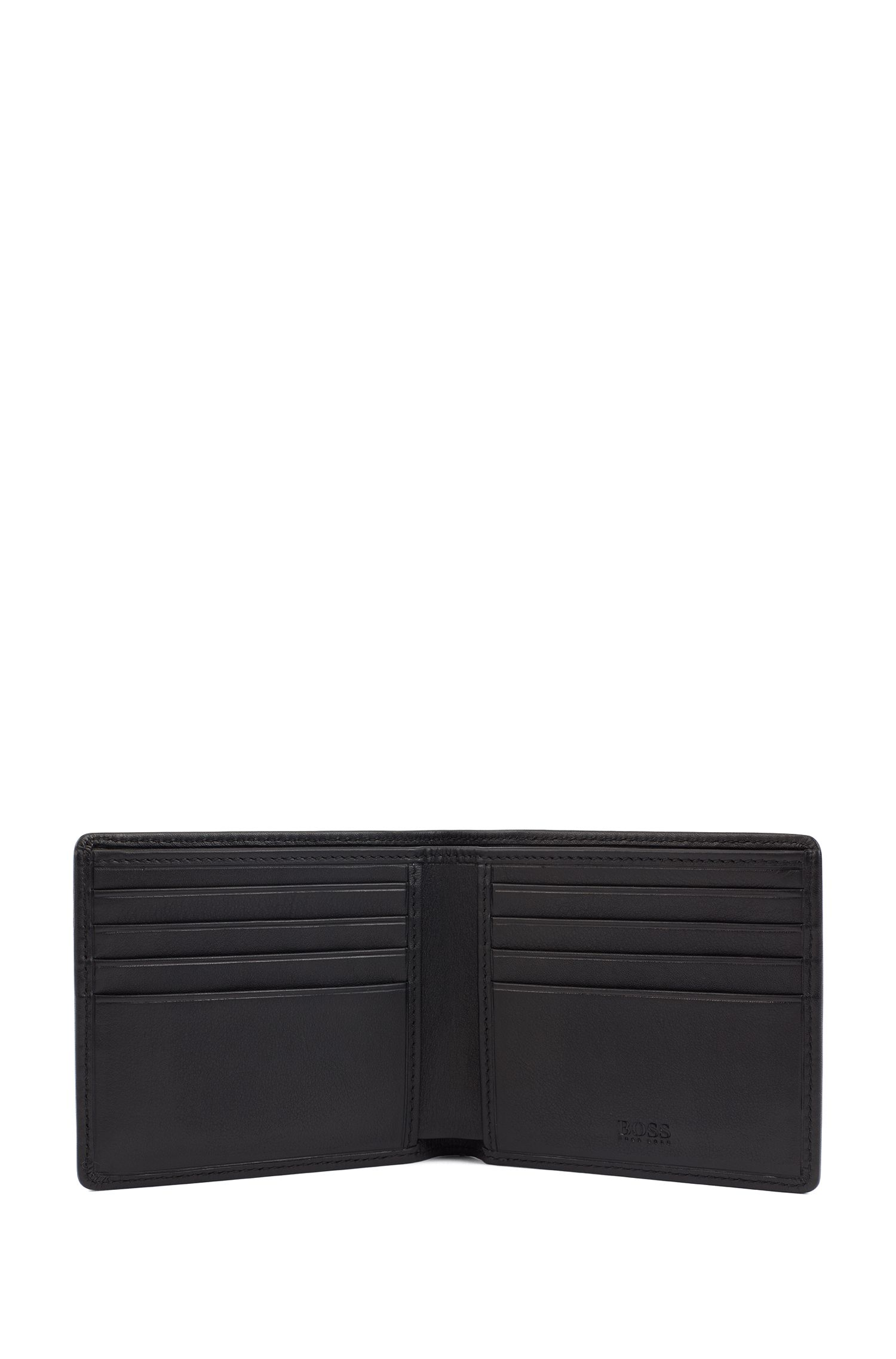 Leather billfold wallet and card holder gift set, Black