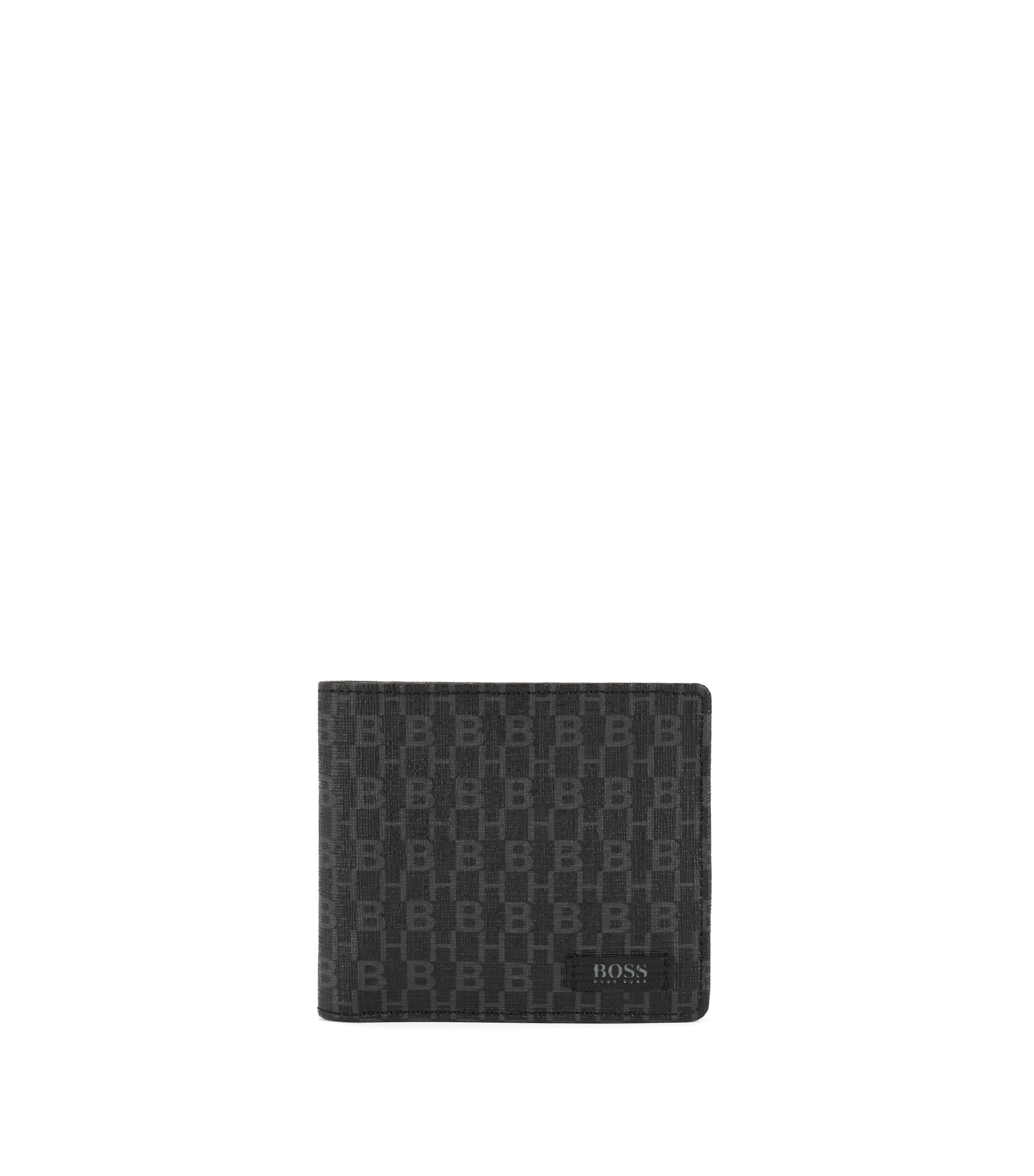 Coated-fabric billfold wallet with HB print, Black