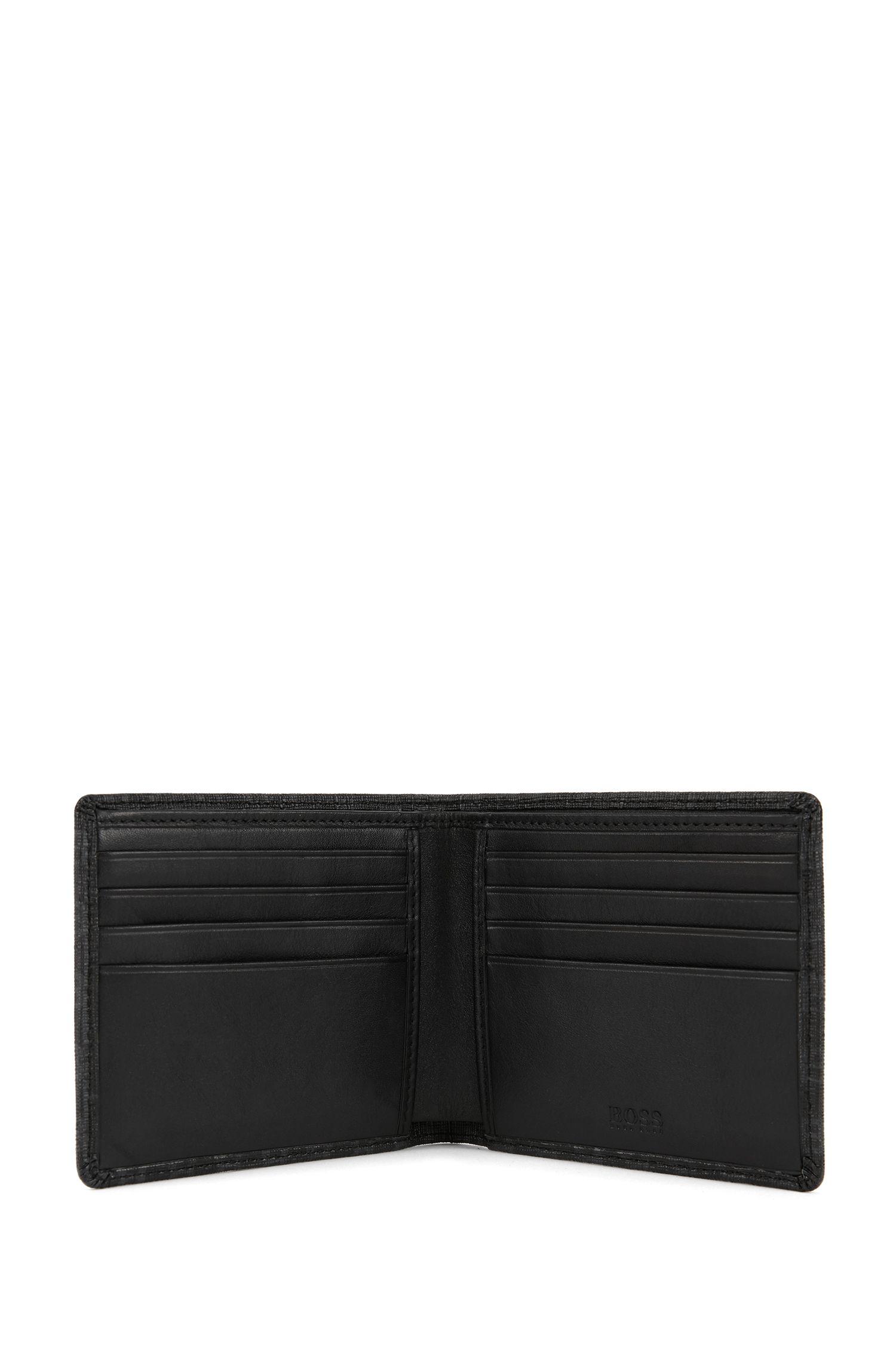 Portefeuille pliable en tissu revêtu avec imprimé HB, Noir