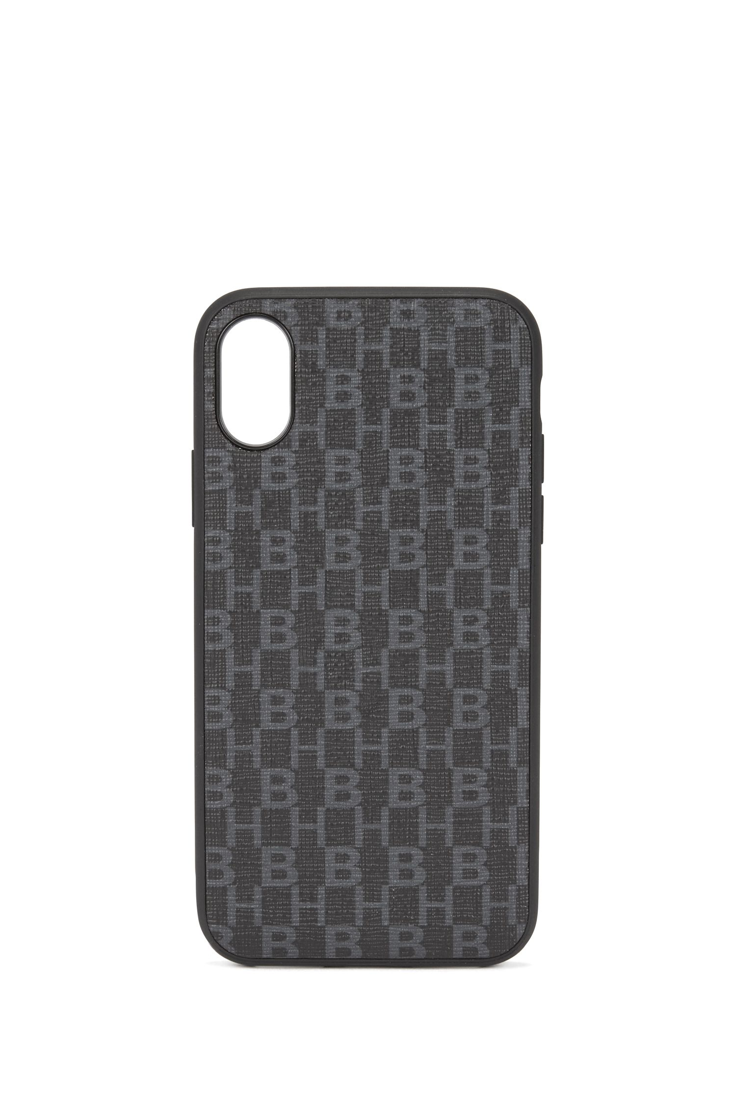iPhone X smartphone case in monogrammed Italian fabric, Black