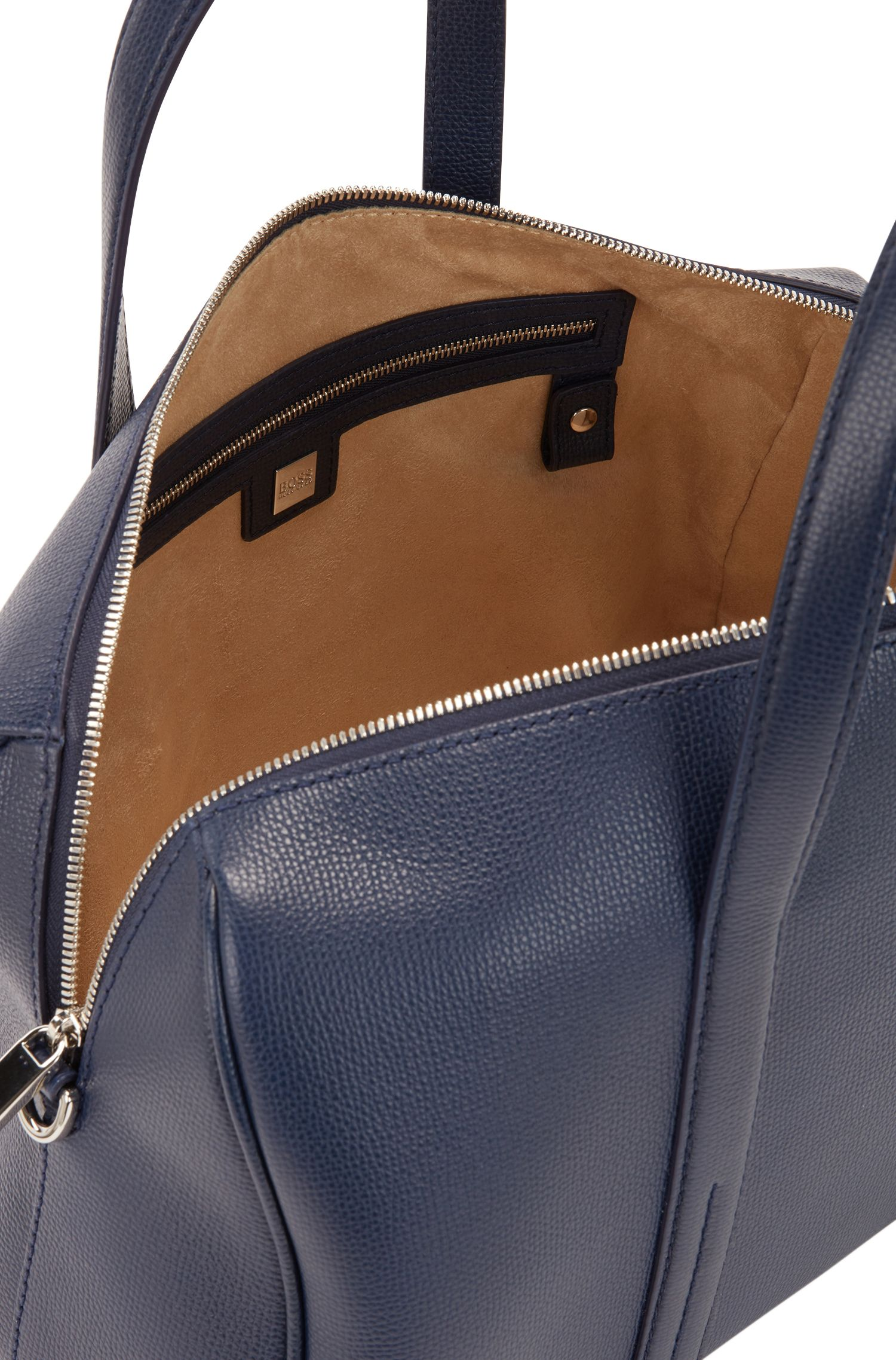 Bowling bag in grainy Italian leather with detachable strap, Blue