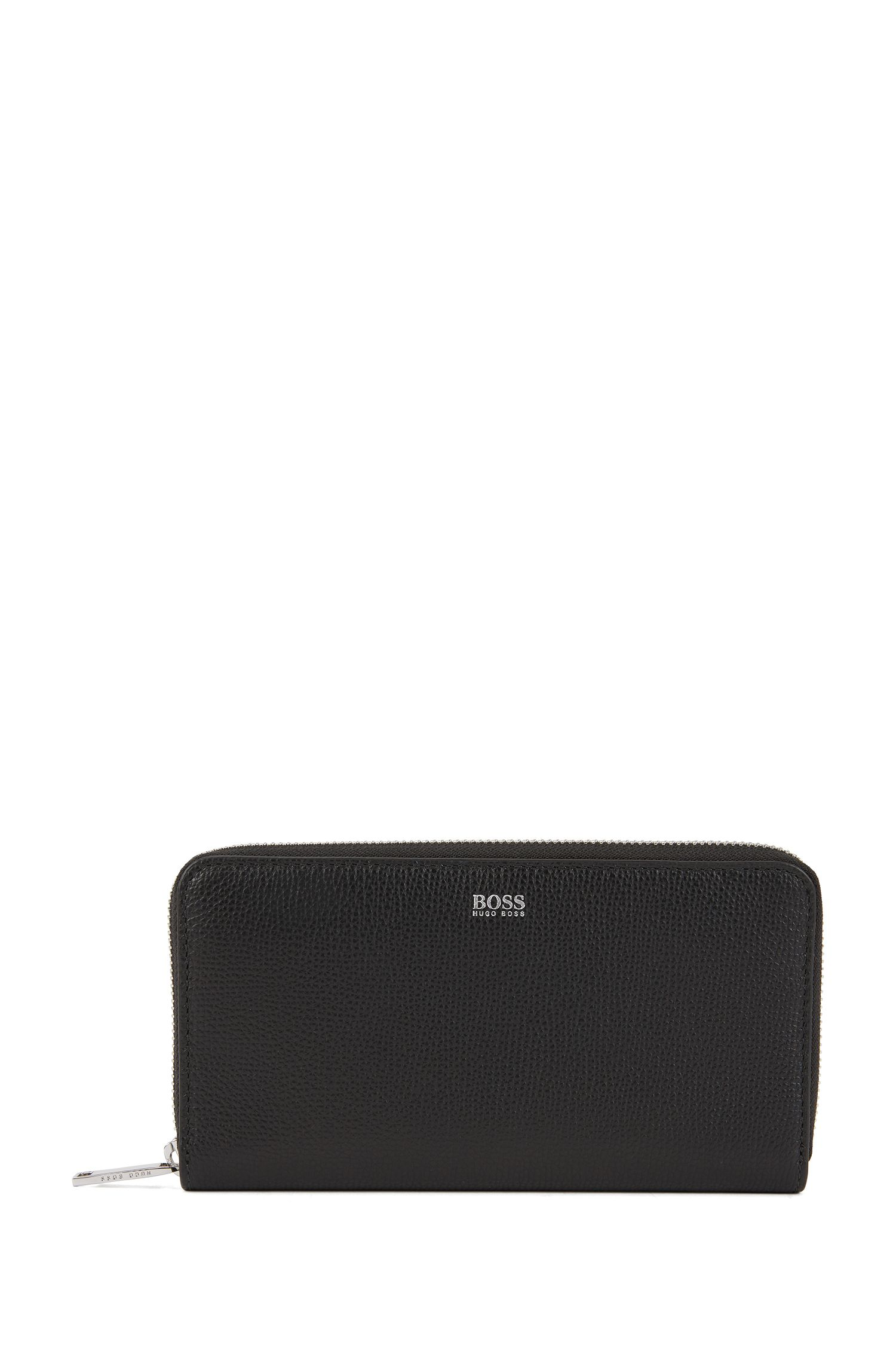 Zip-around wallet in grained Italian leather, Black