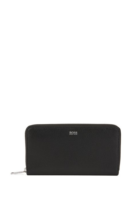 7ac11b363947 Zip-around wallet in grained Italian leather, Black