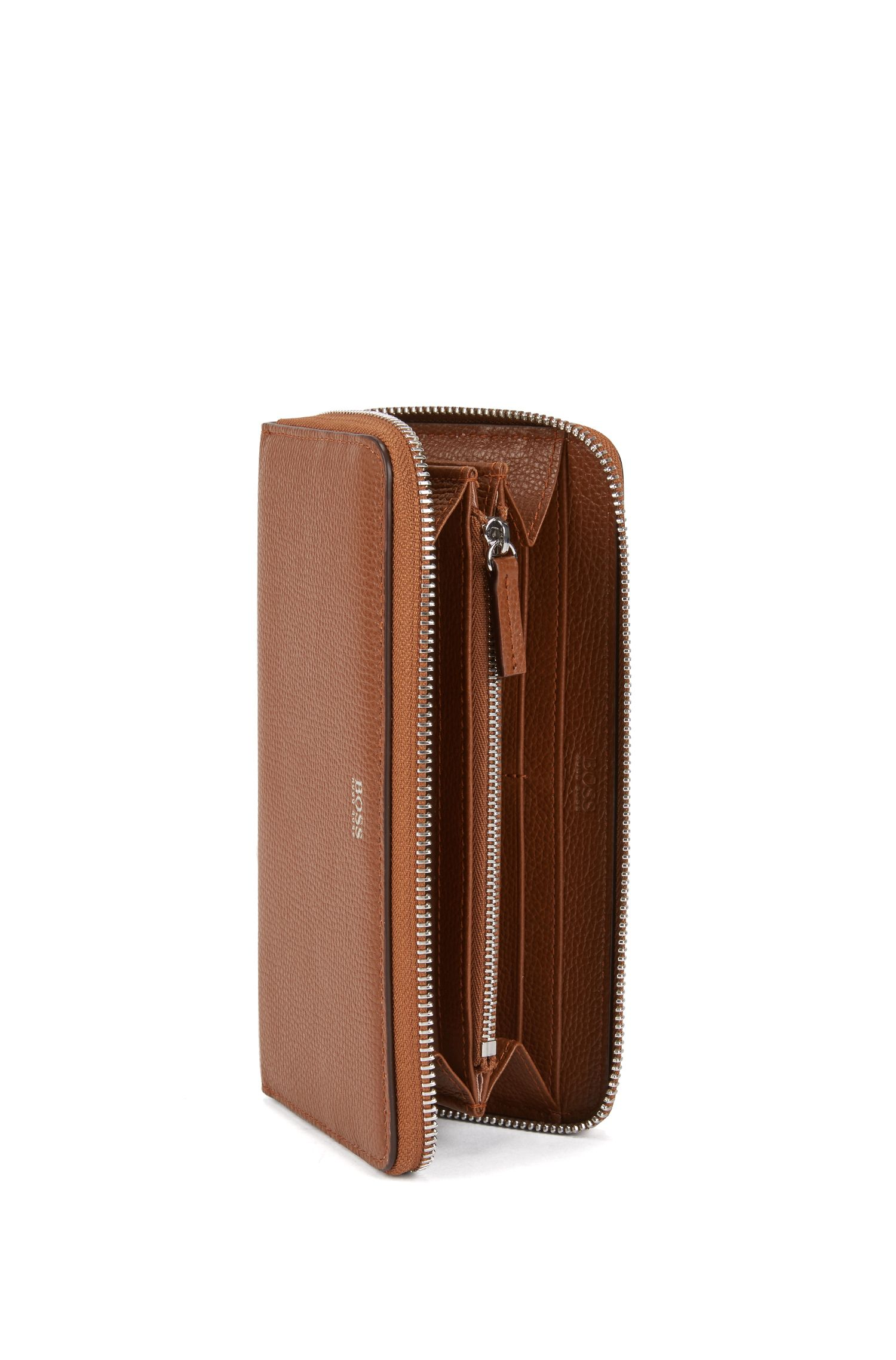 Zip-around wallet in grained Italian leather, Light Brown