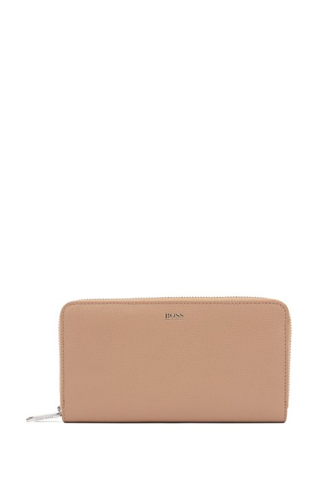 Zip-around wallet in grained Italian leather, Beige