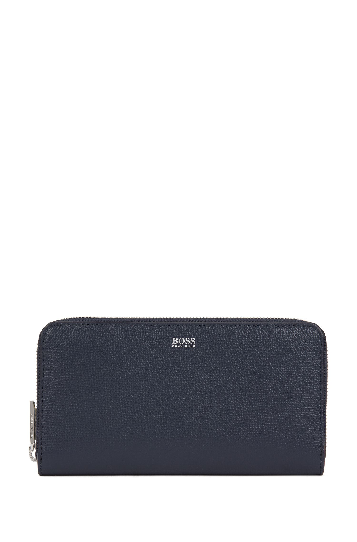 Zip-around wallet in grained Italian leather, Dark Blue
